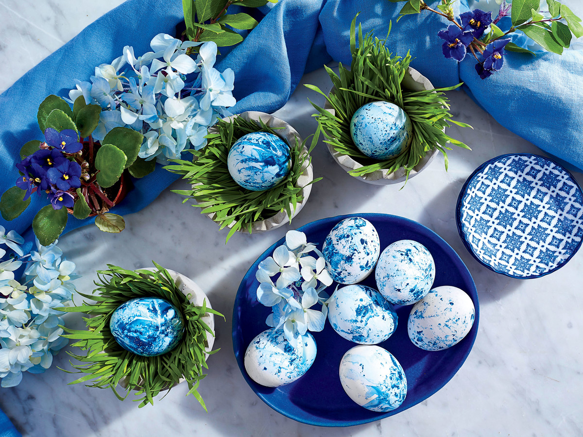 Blue and White Easter Egg and Hydrangea Centerpiece