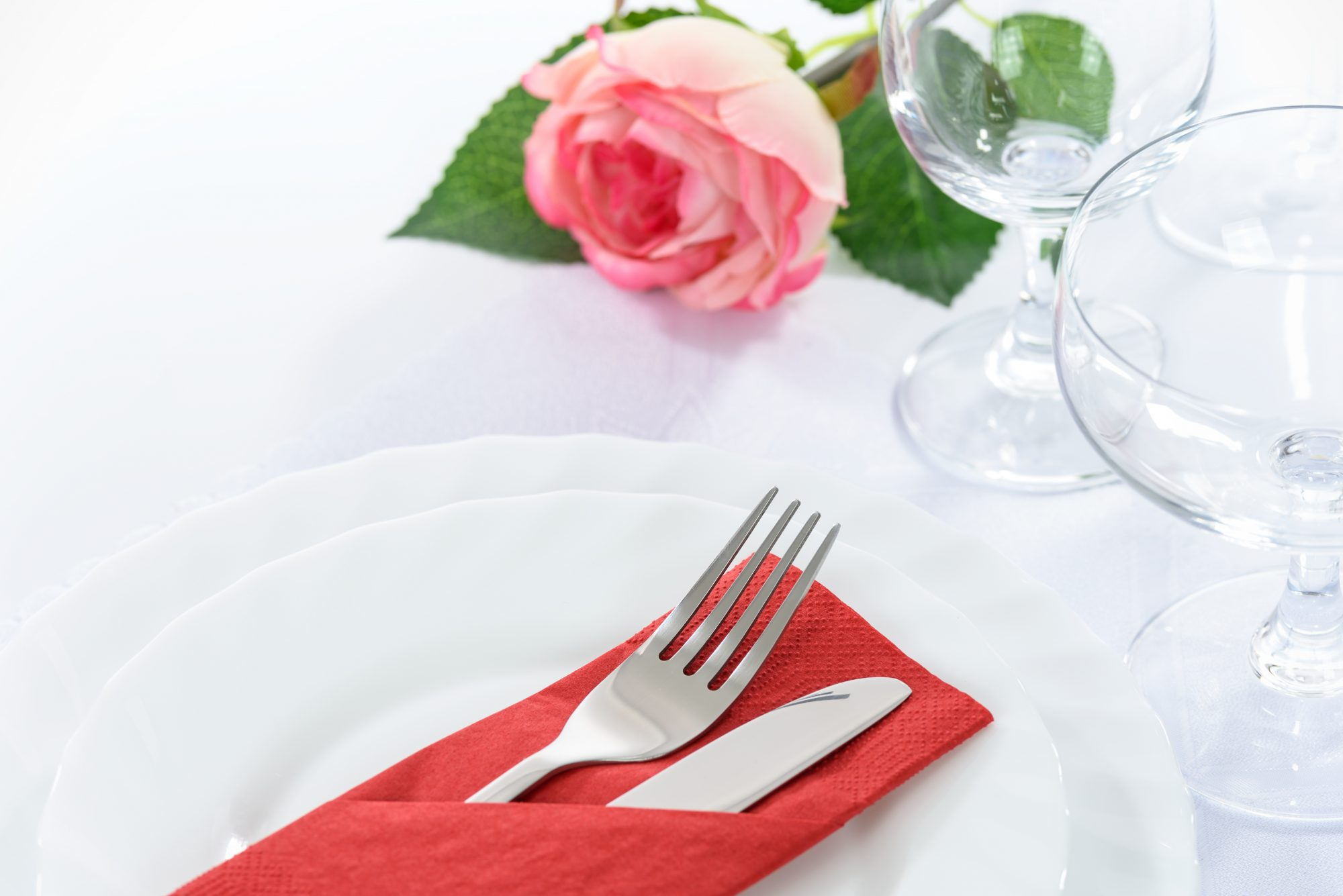 White Tablecloth with Pink Rose