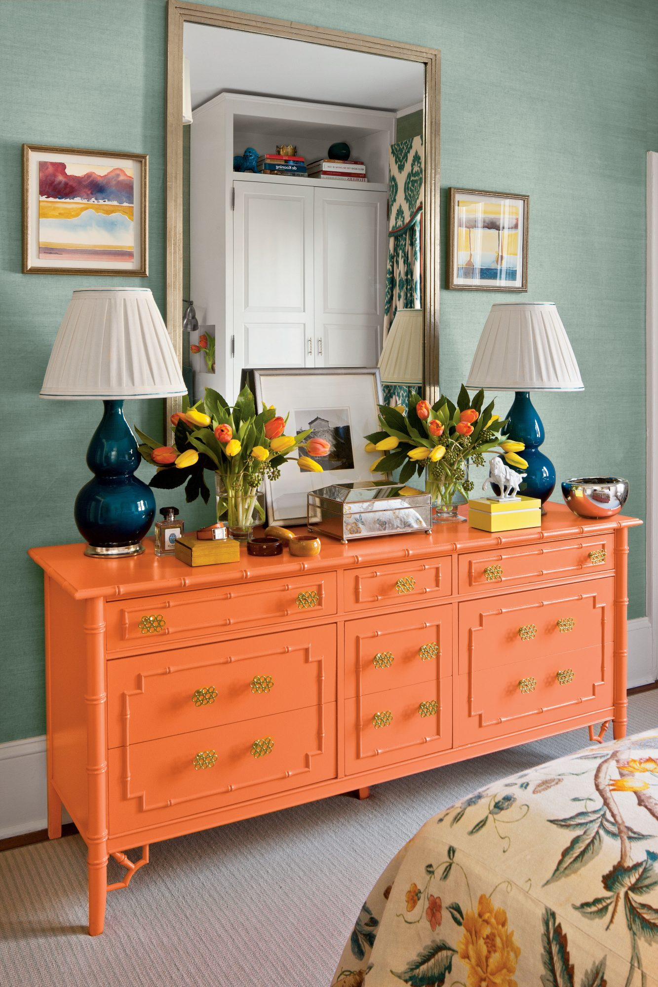 Orange Faux Bamboo Dresser