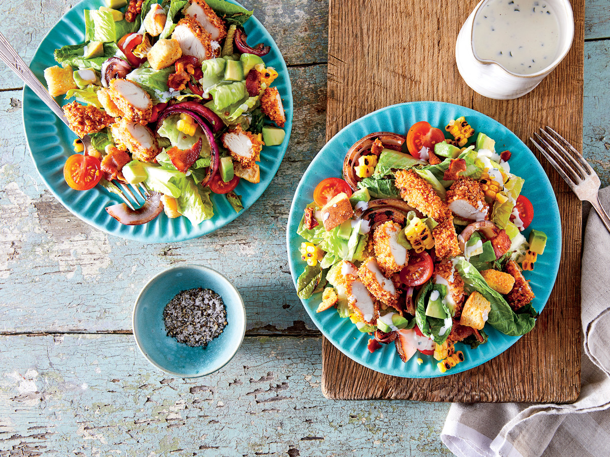 Oven-Fried Chicken Salad with Buttermilk Ranch Dressing