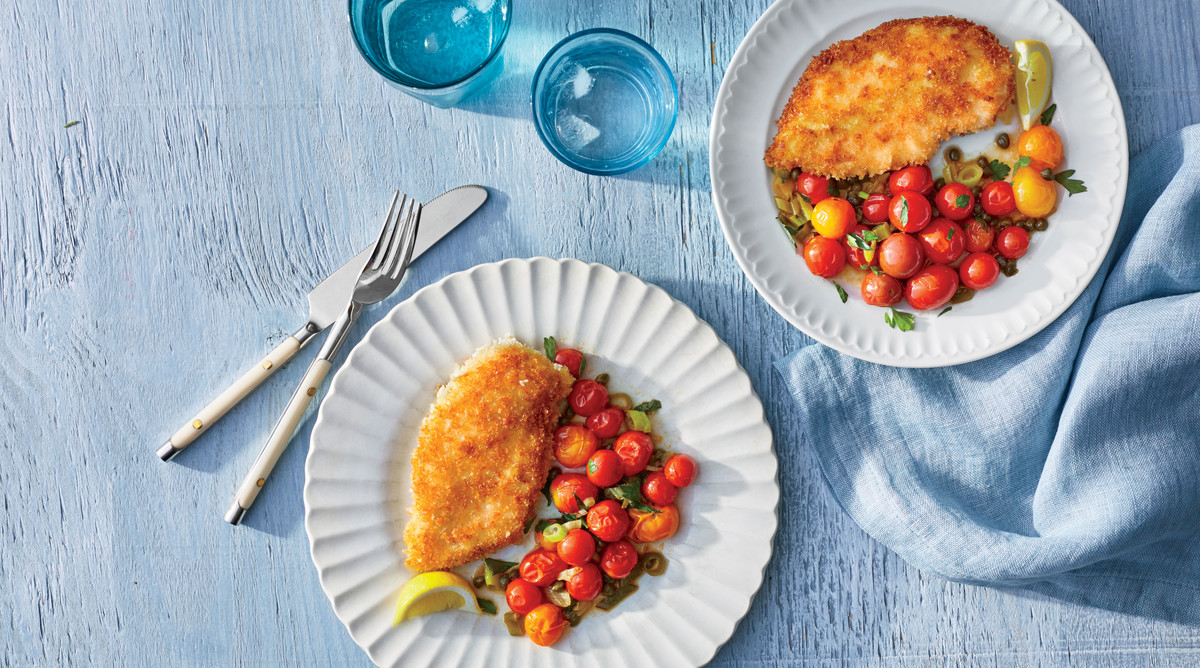 Crispy Chicken Cutlets with Blistered Tomatoes