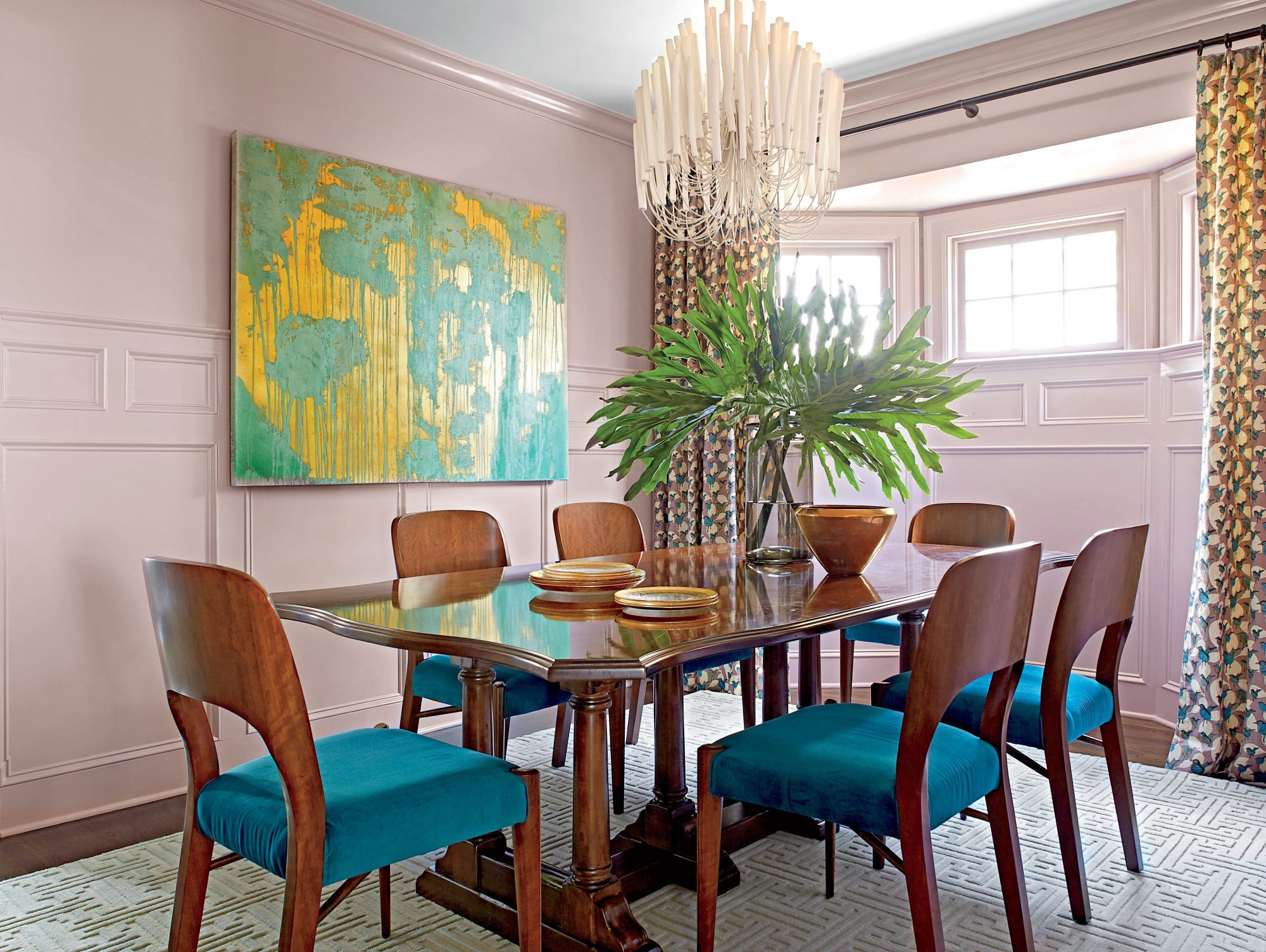 Andrew Howard Colorful Makeover Mauve and Teal Dining Room