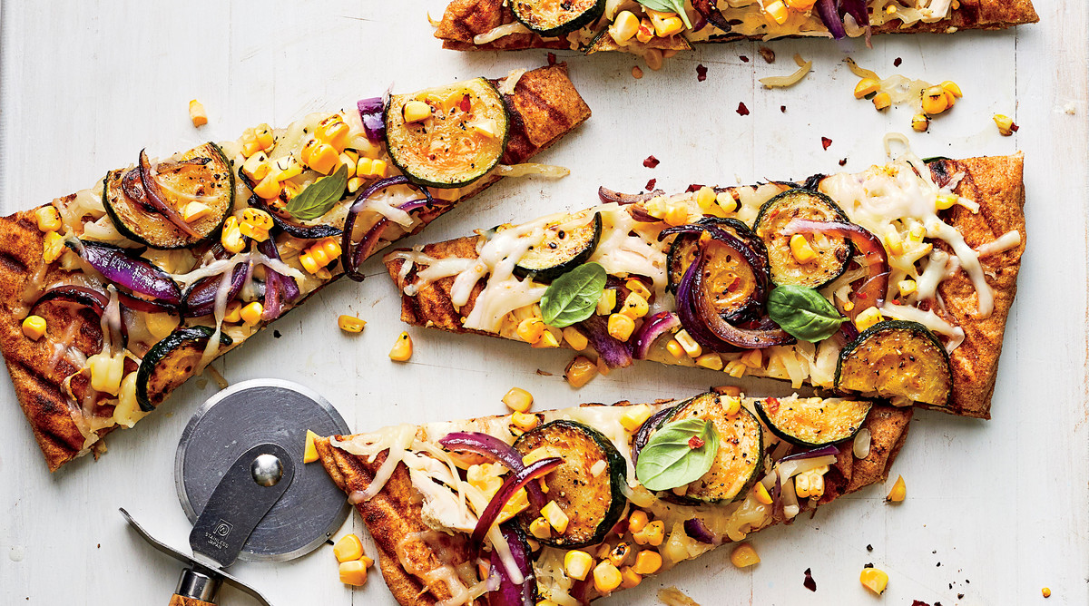 Grilled Pizza with Summer Veggies and Smoked Chicken