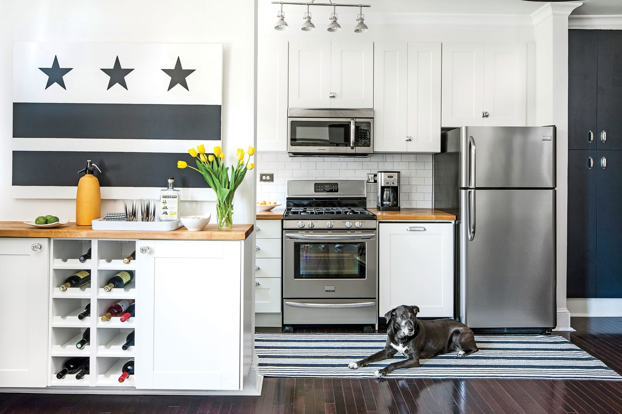 Tiny White Kitchen with Butcher Block Countertops