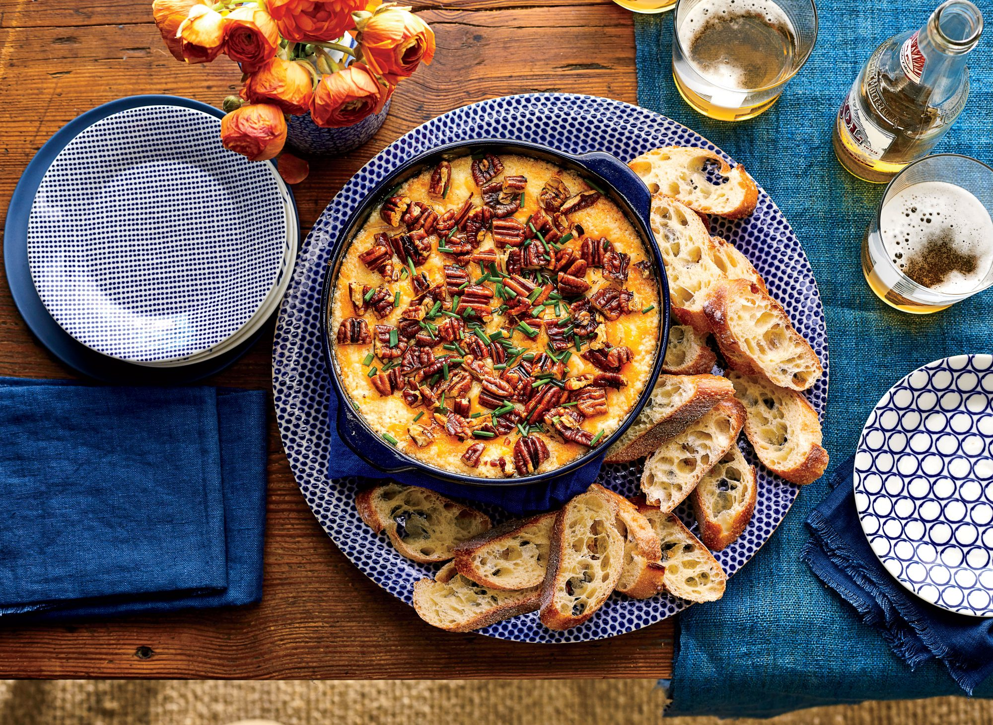 Warm Cheese-and-Spicy Pecan Dip