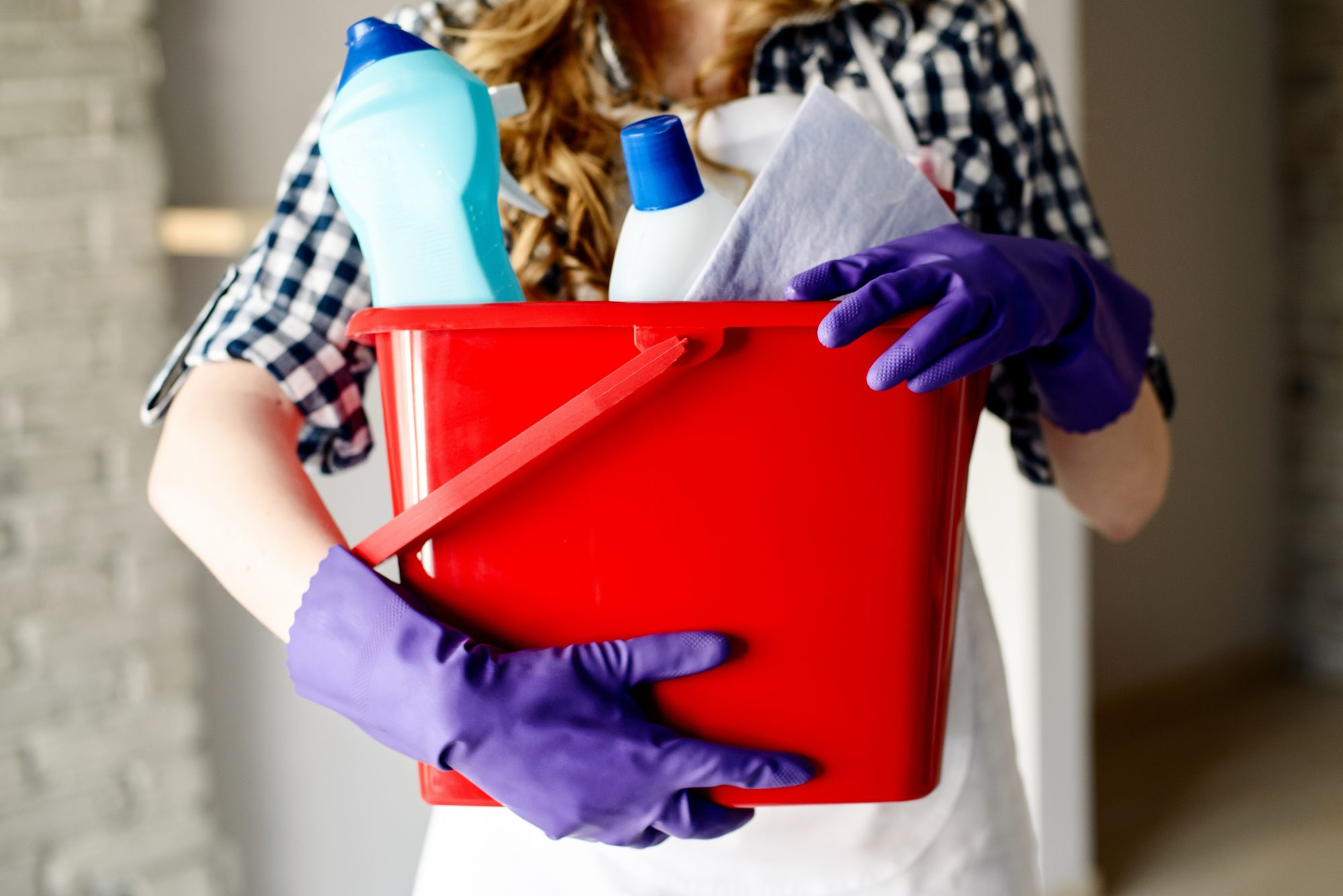 Woman Holding Cleaning Supplies Bucket