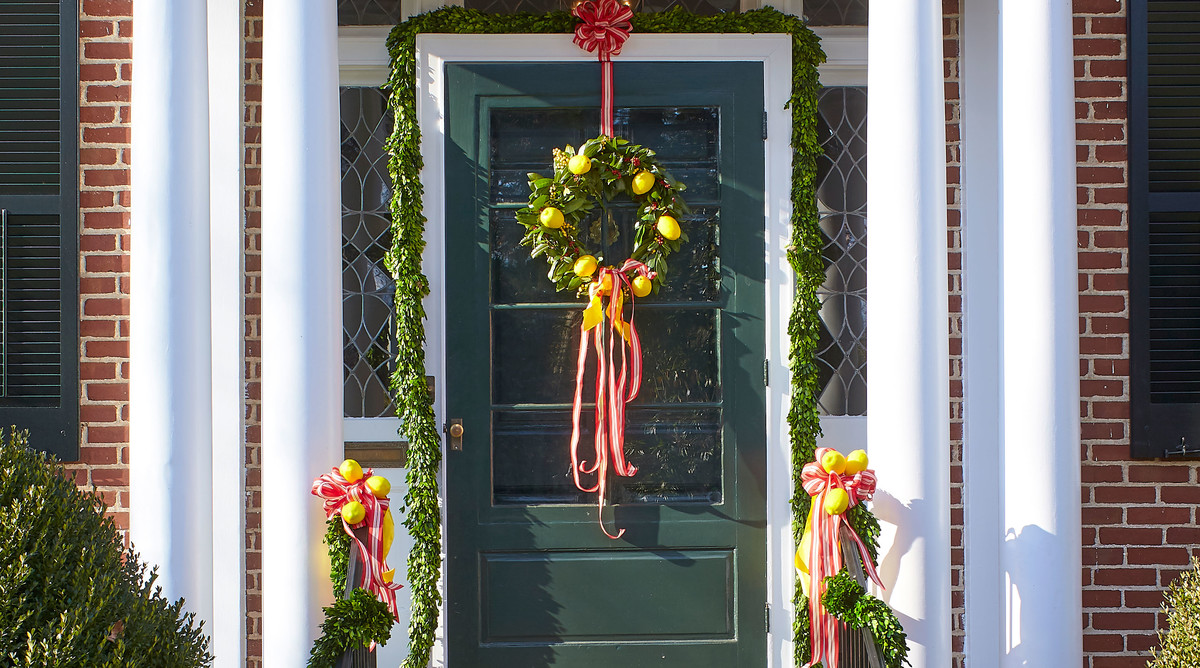 Natasha Lawler Charlottesville Home Decorated for Christmas with Lemon Wreath on the Front Door