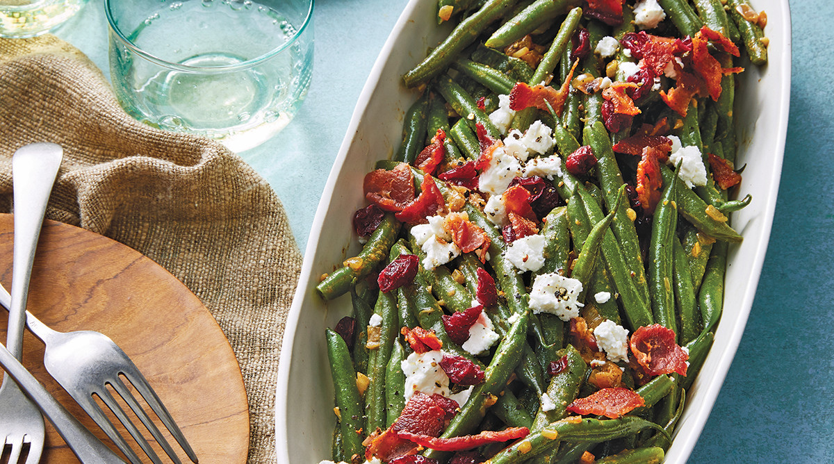 Martina McBride's Green Beans with Goat Cheese and Warm Bacon Dressing
