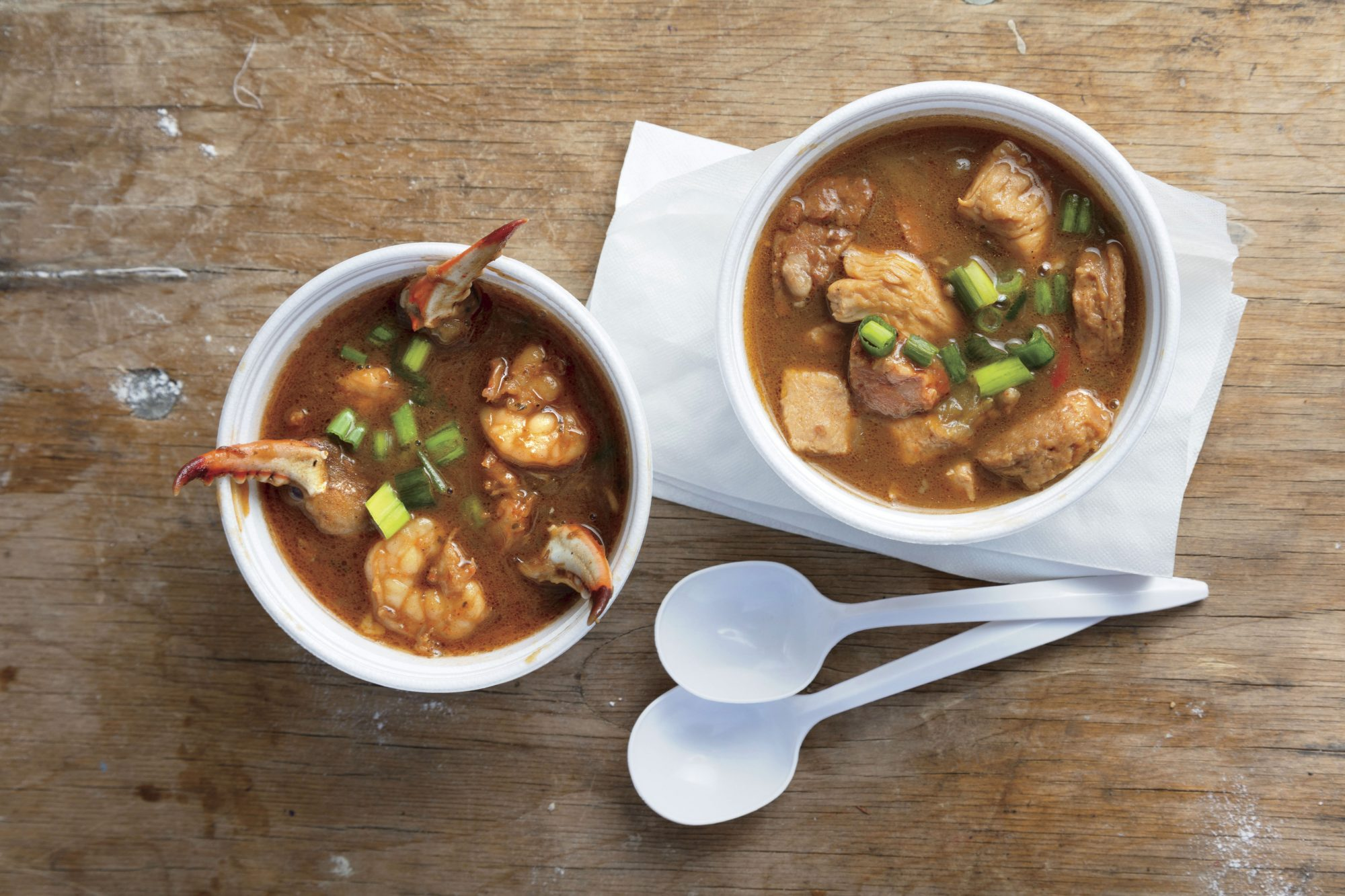 Bowls of Gumbo at the World Championship Gumbo Cookoff in New Iberia, LA