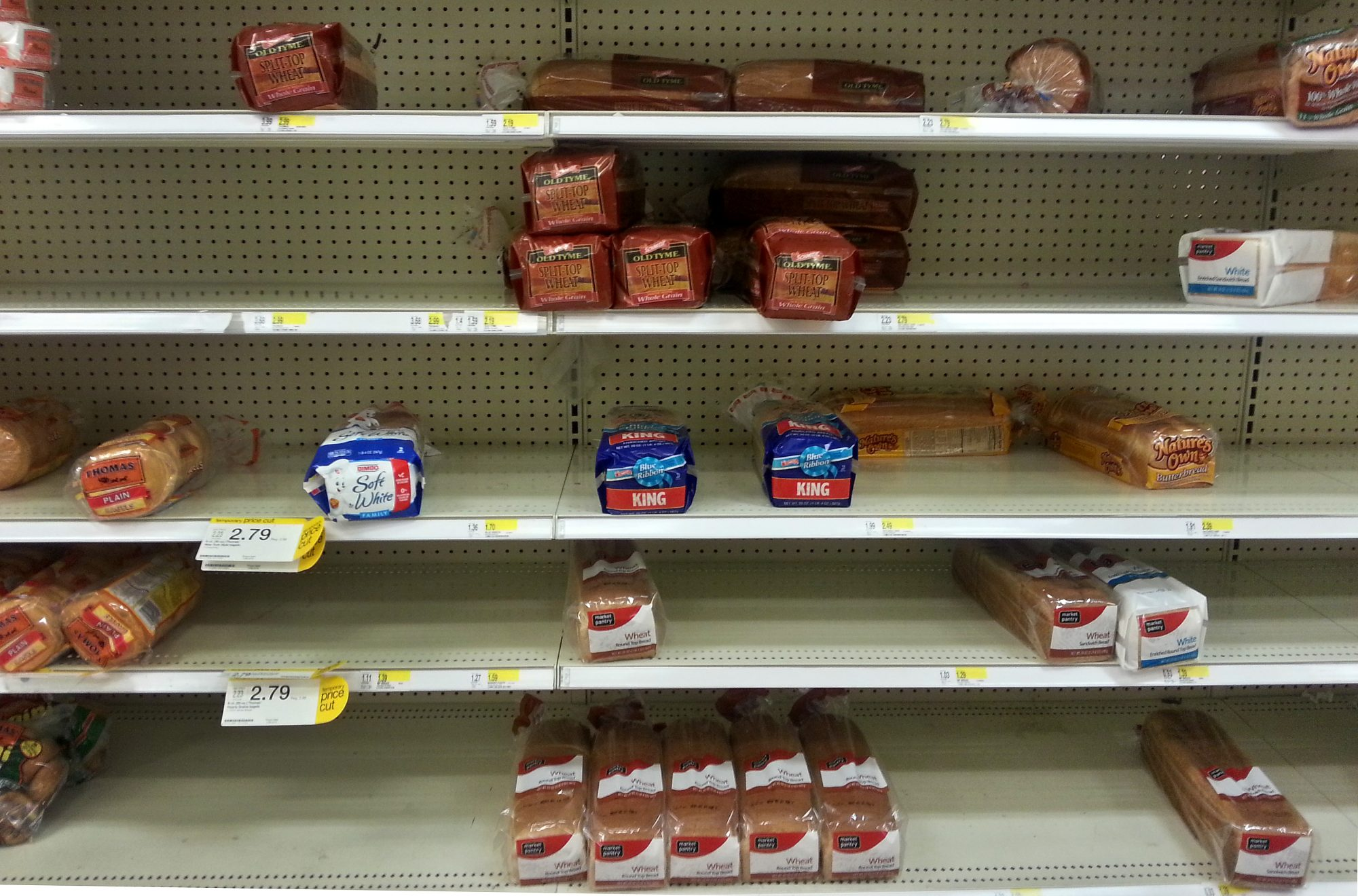 Empty Bread Shelf at Grocery Store