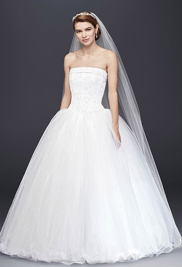 Tulle Wedding Dress with Beaded Satin Bodice