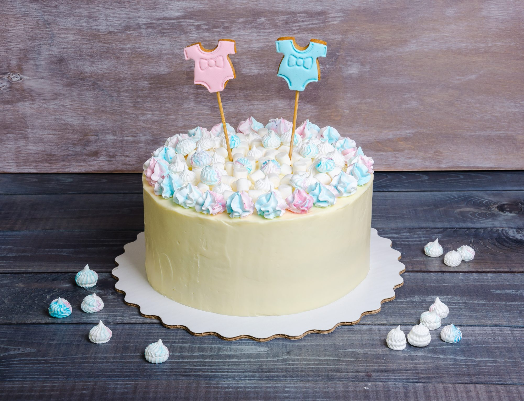 Marshmallow Gender Reveal Cake