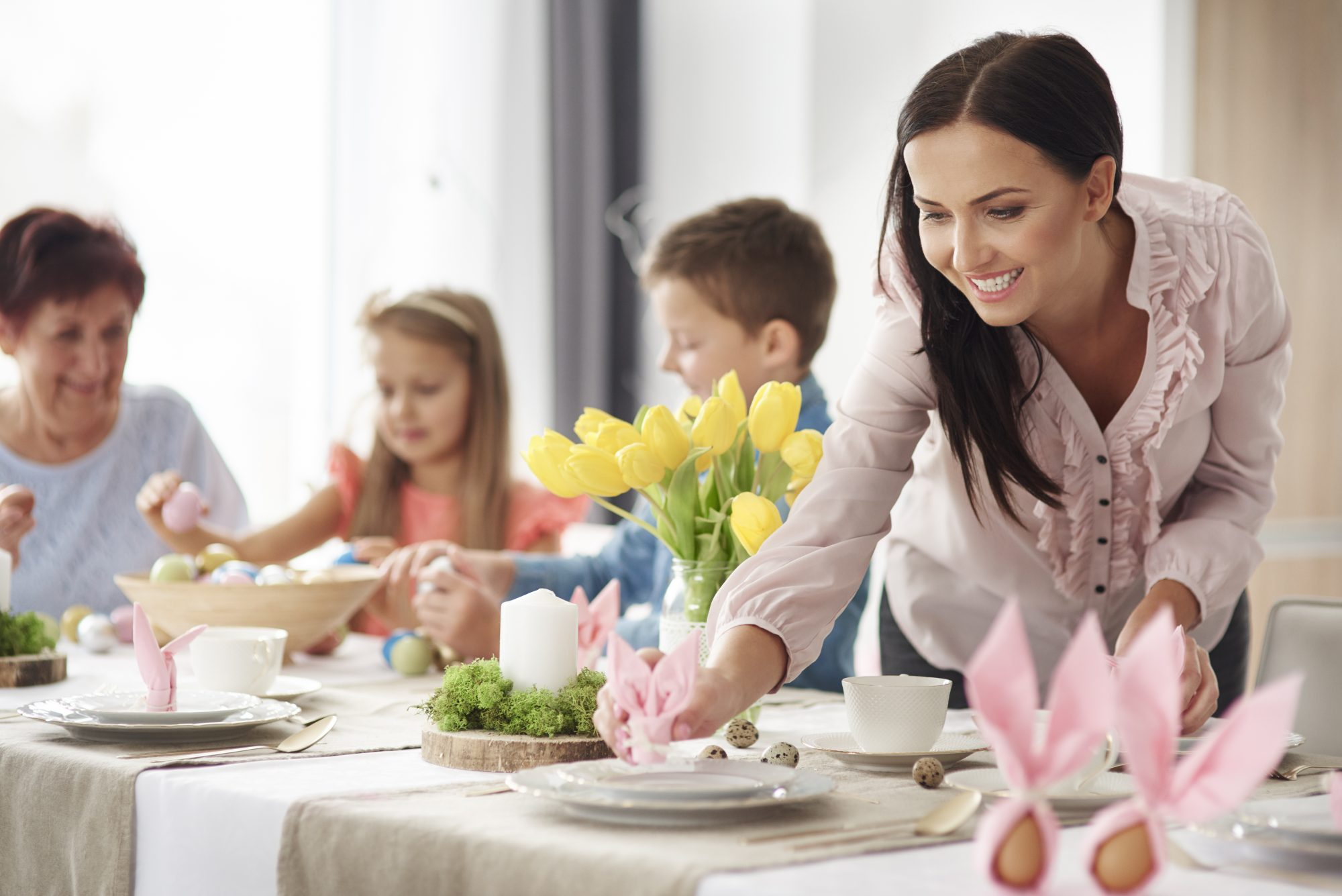 Woman Setting Easter Table