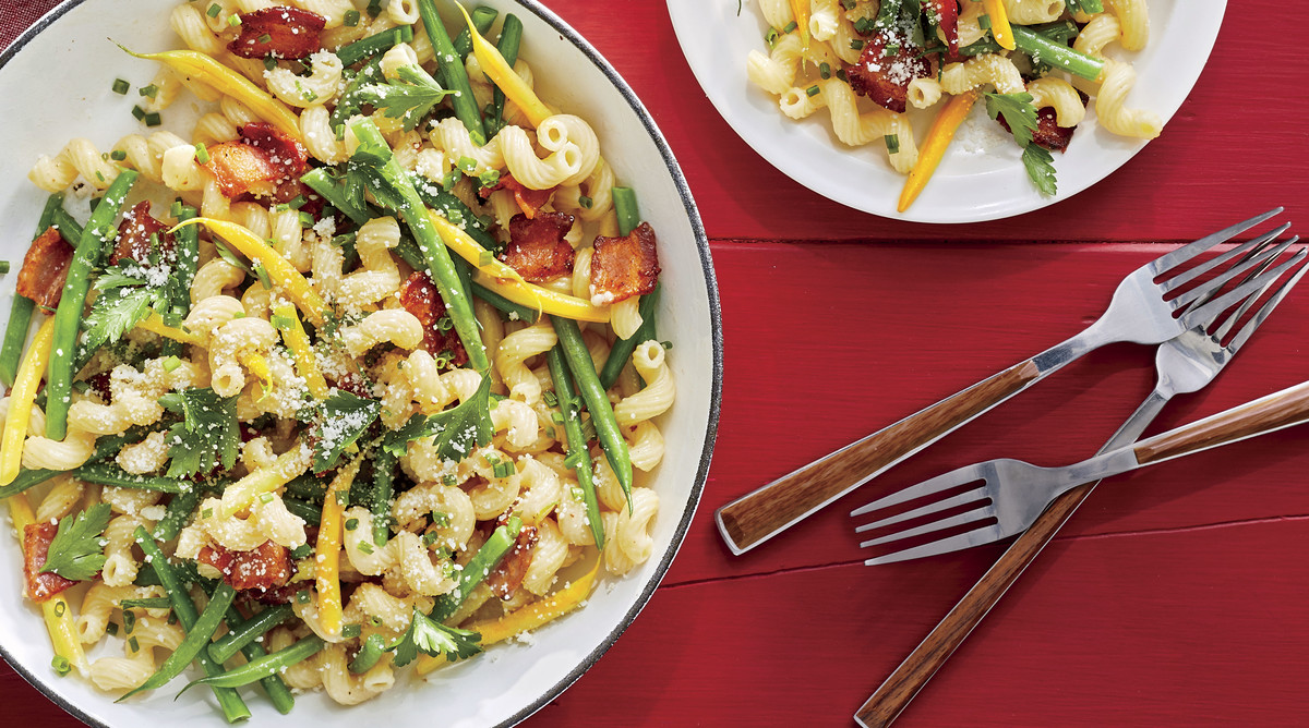 Cavatappi Pasta with Beans and Bacon