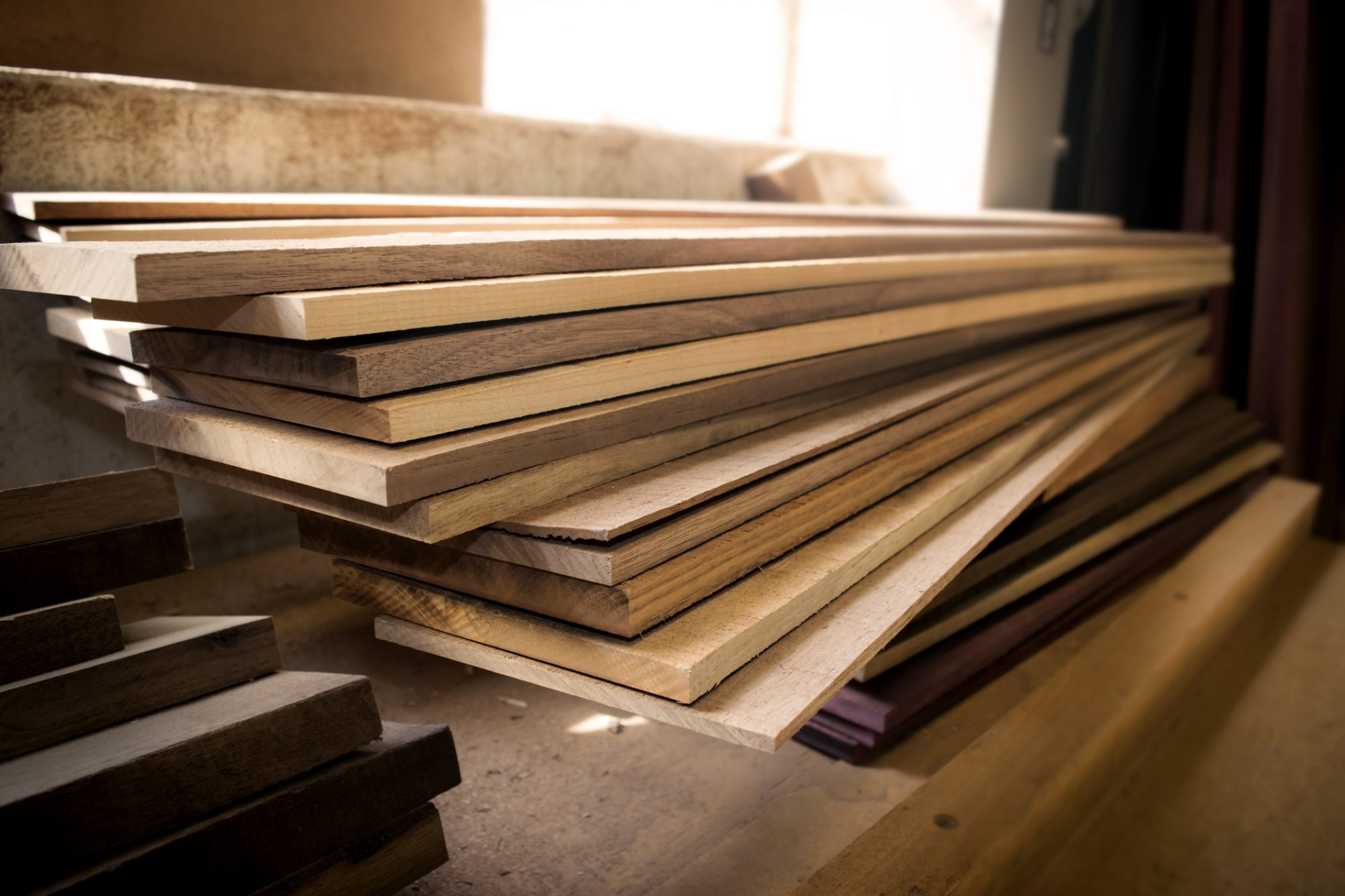 Stack of Wood in Woodshop