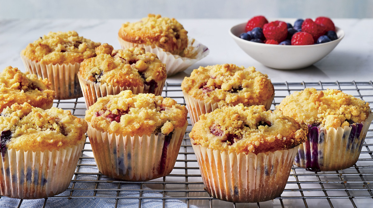 Any-Berry Muffins with Cornmeal Streusel