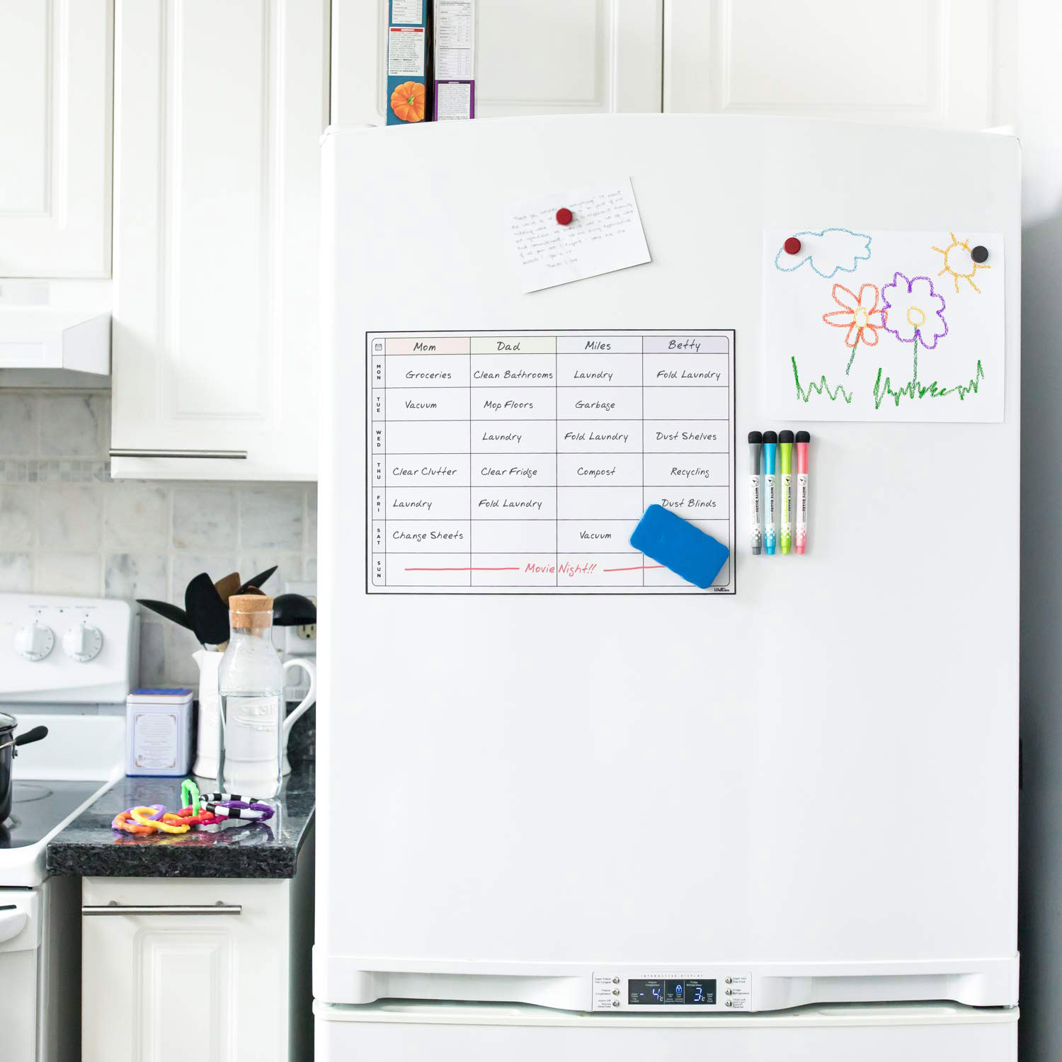 Weekly Magnetic Dry Erase Fridge Whiteboard