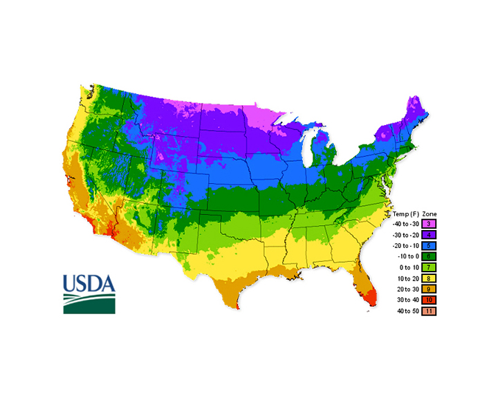 USDA Climate Zone Map