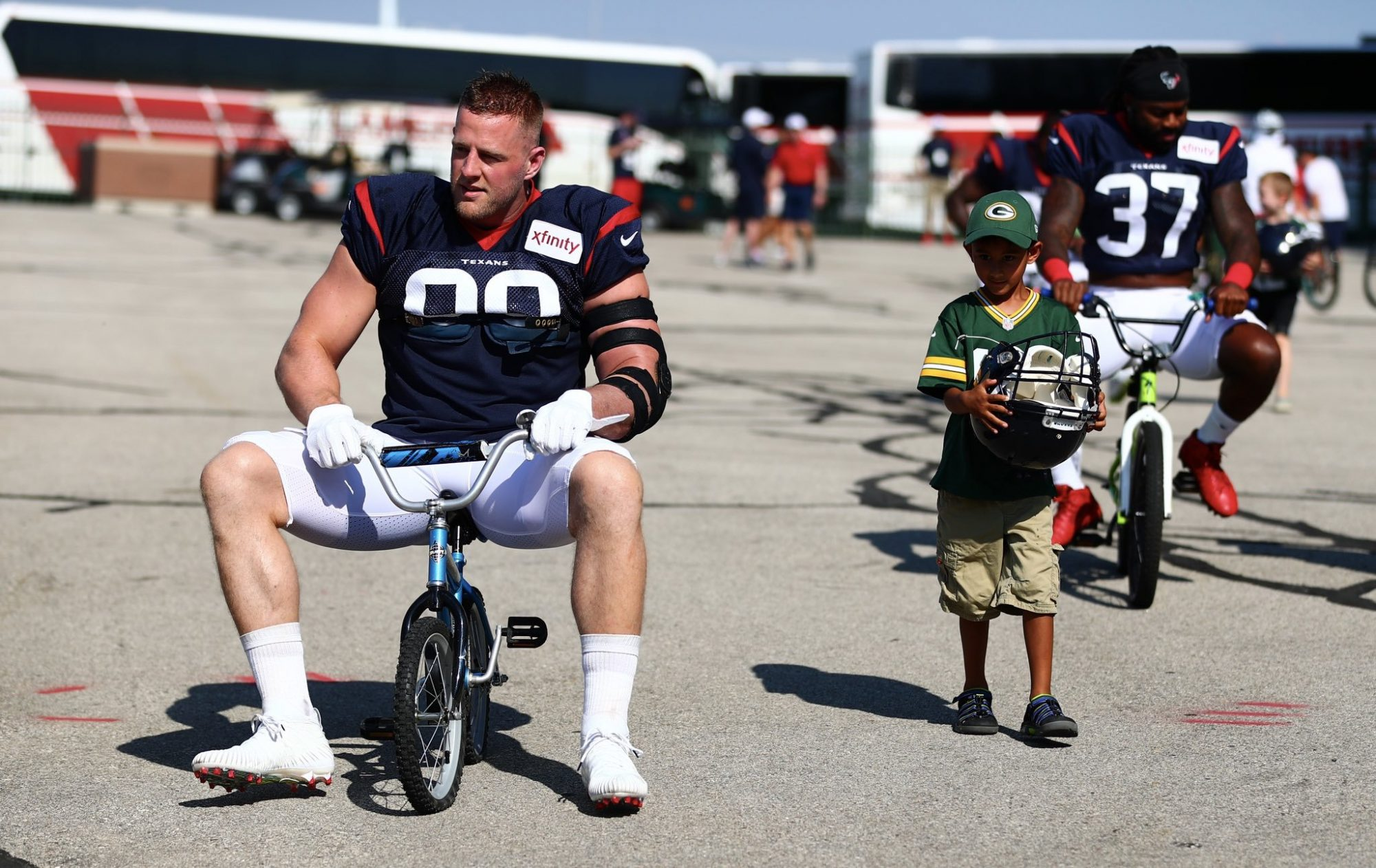 JJ Watt Rides Kid Bike