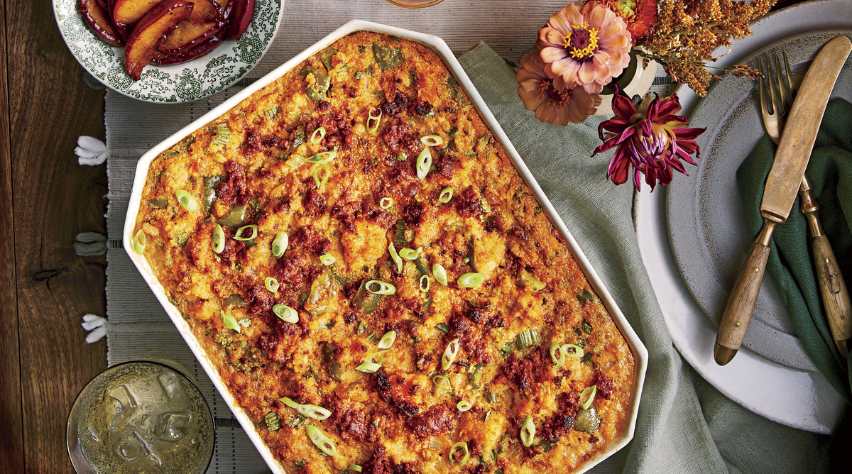 Spicy Cornbread Dressing with Chorizo