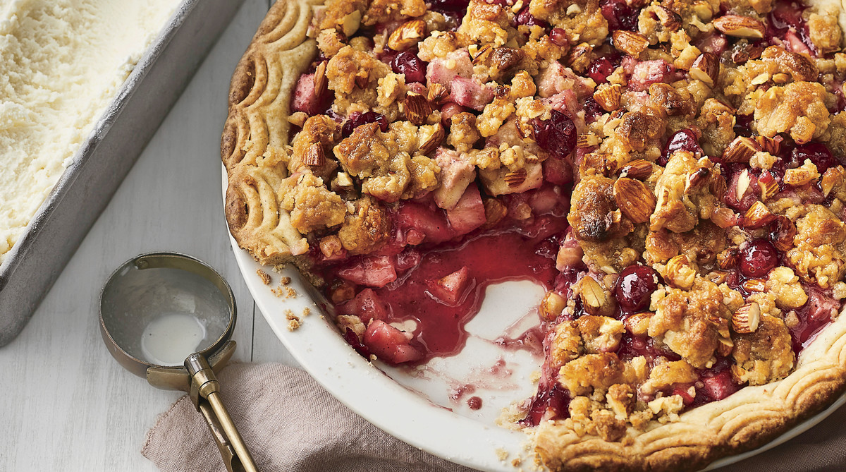 Pear-Cranberry Pie with Ginger-Almond Streusel