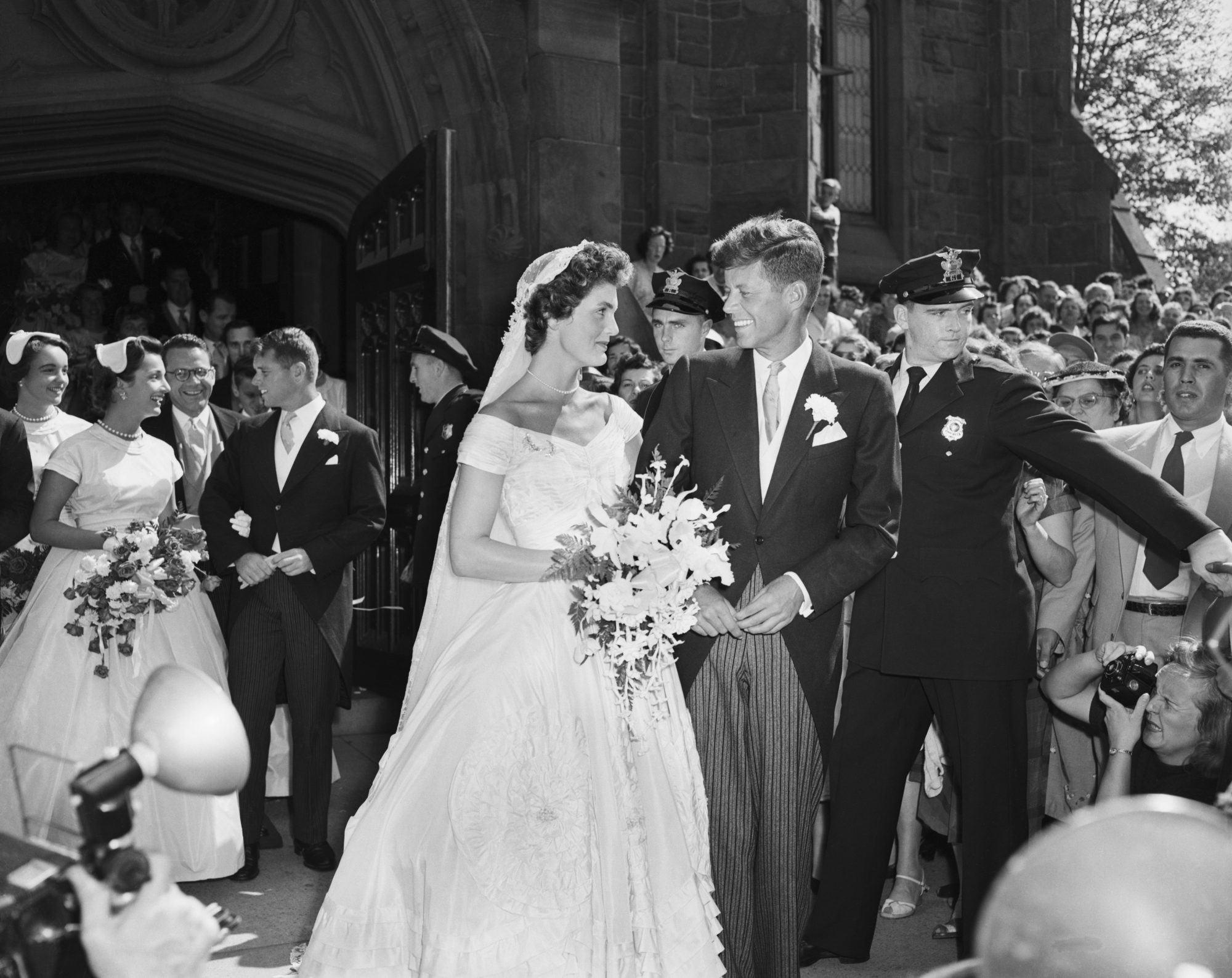 Jackie Kennedy and John F. Kennedy After Wedding Ceremony