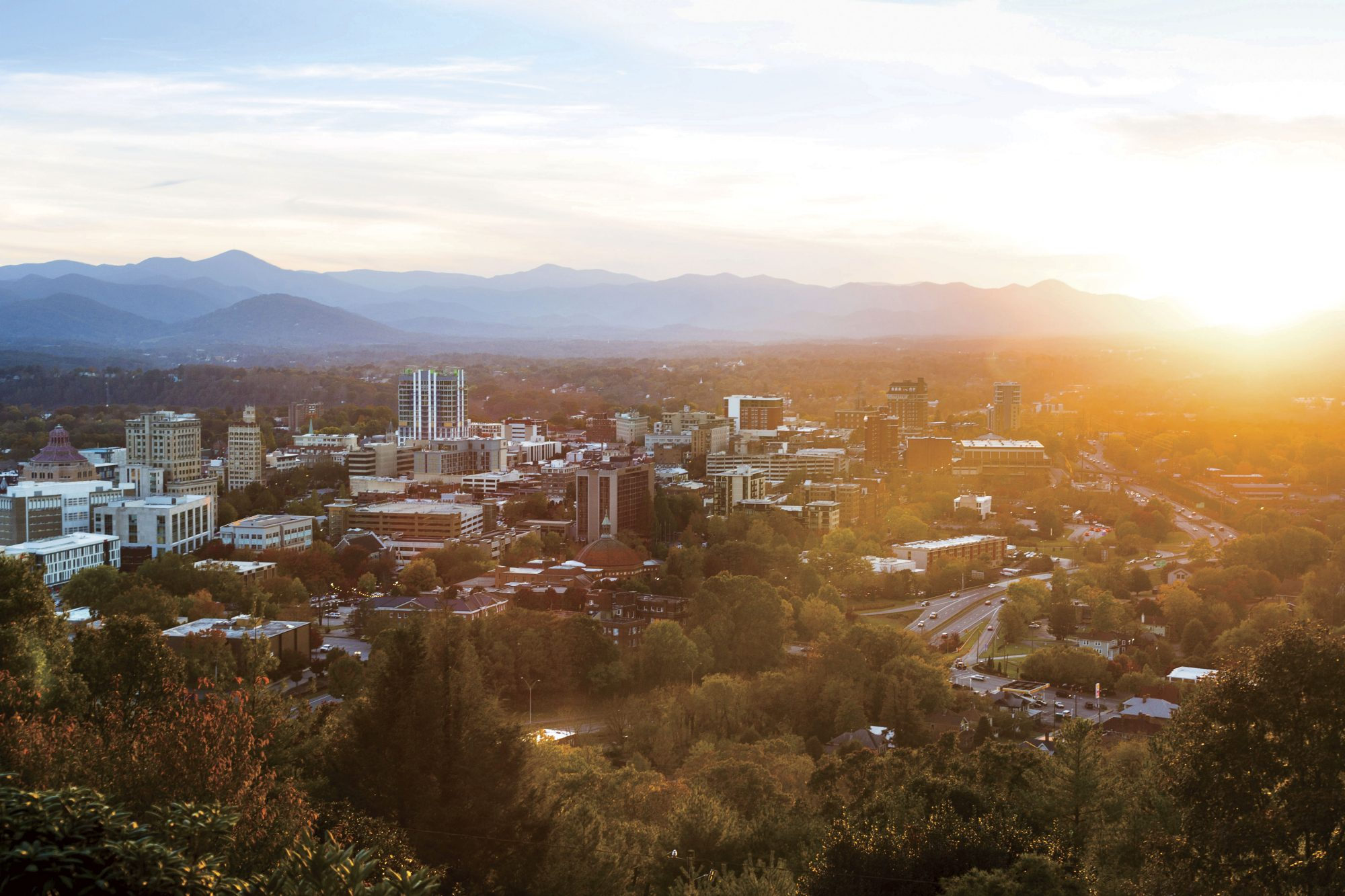 Asheville City Skyline Sunset