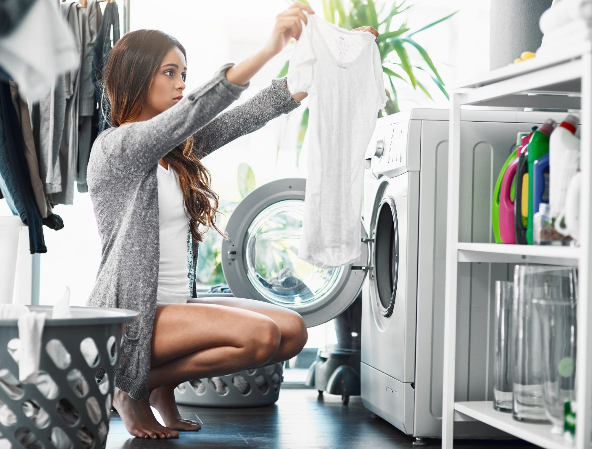 Woman Doing Laundry White Shirt