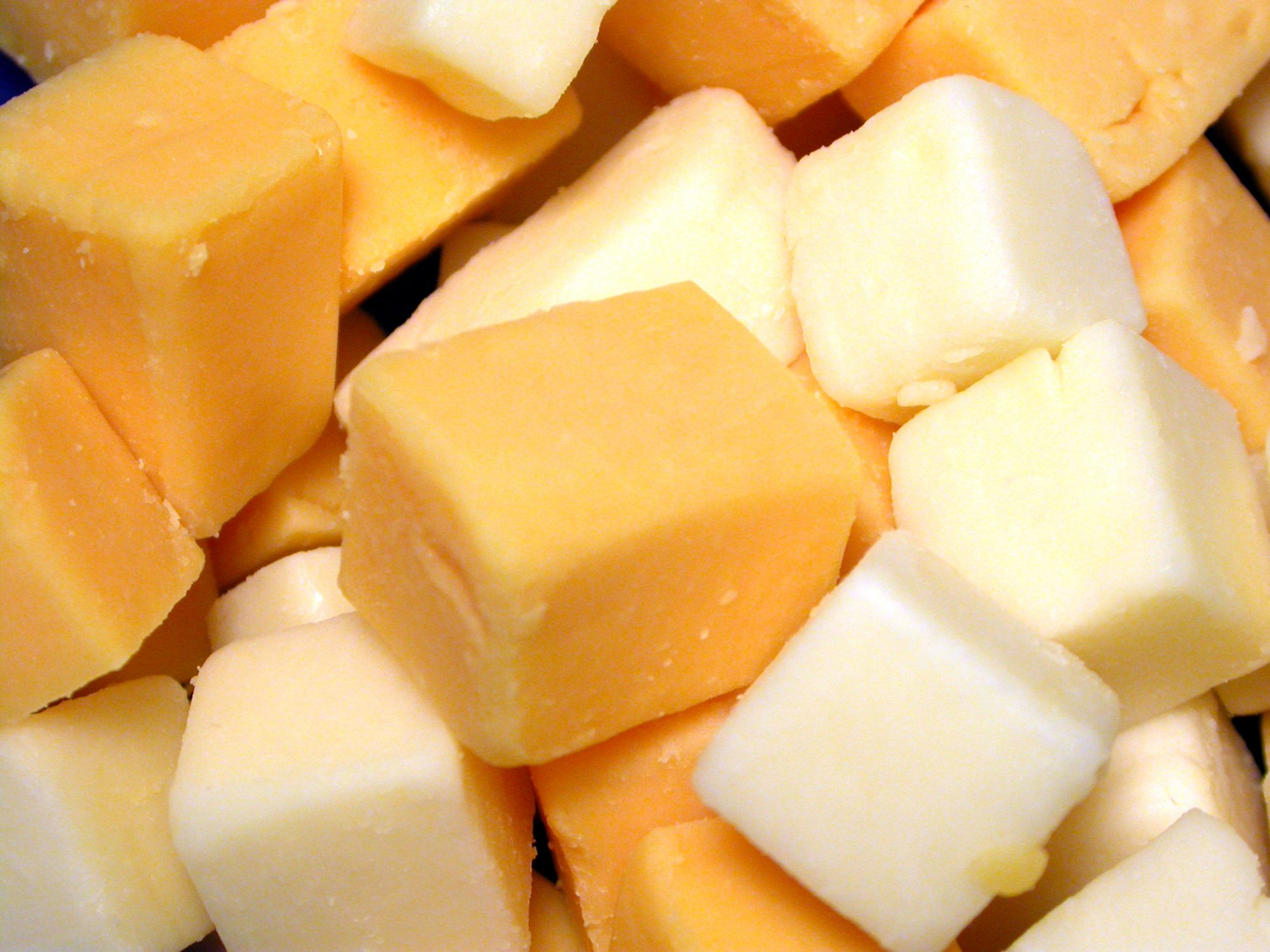 White and Orange Cheddar Cheese