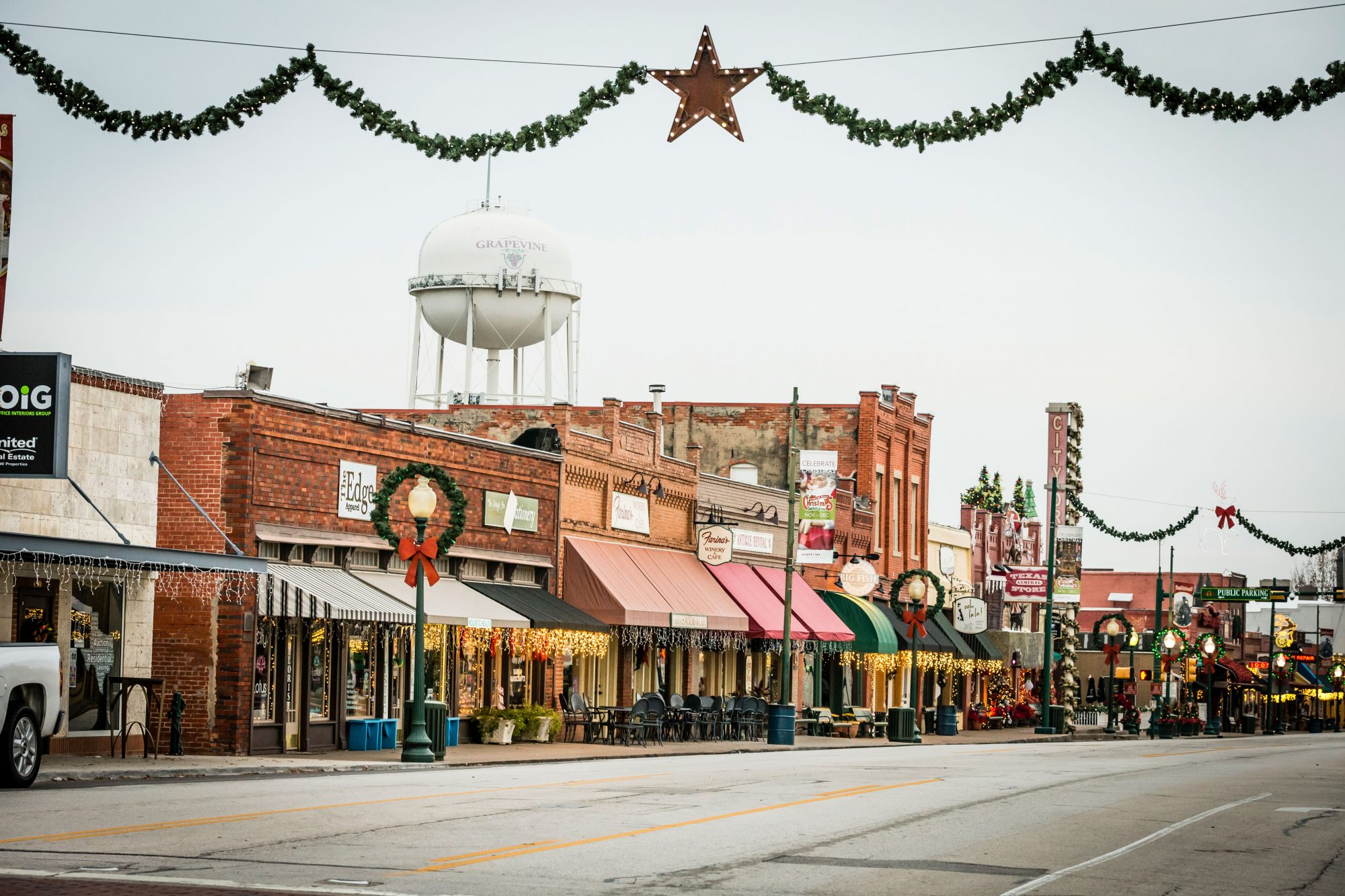 Downtown Grapevine, TX at Christmas
