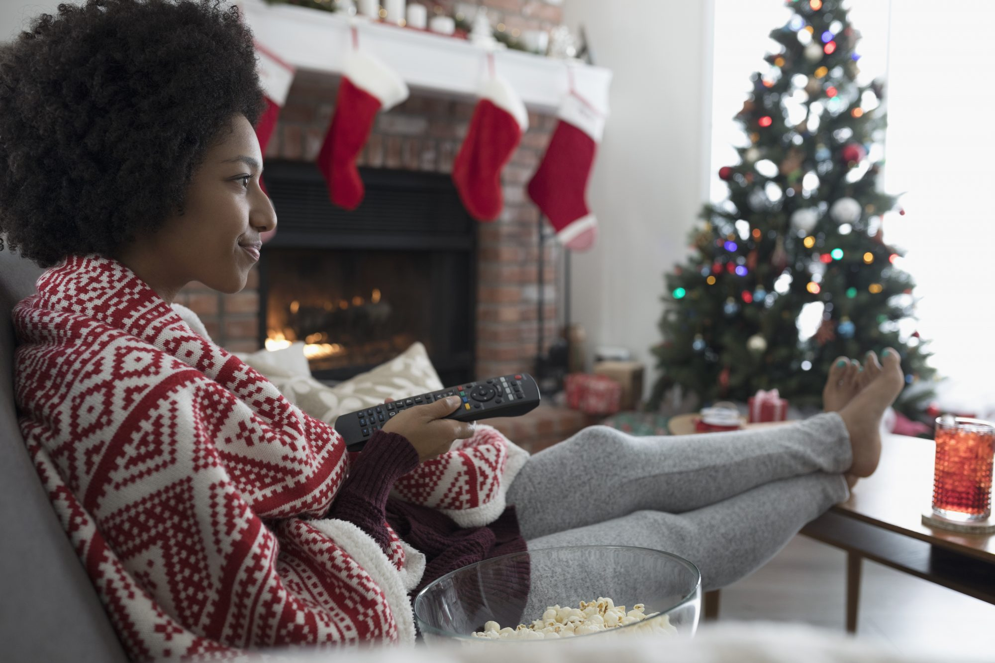 Woman Watching Christmas Movies