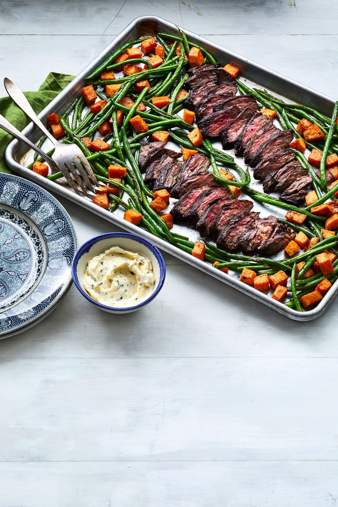 Sheet Pan Hanger Steak and Vegetables