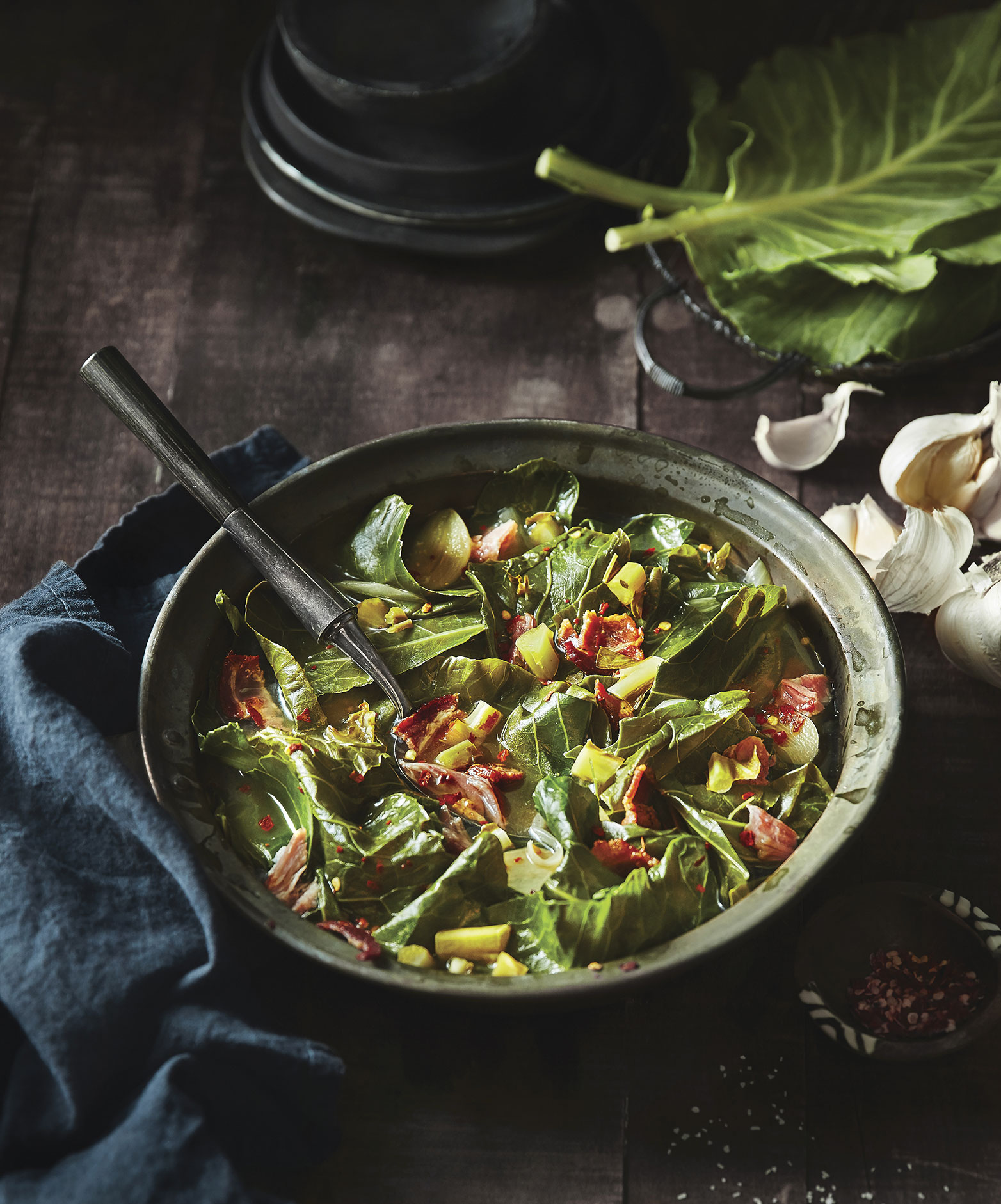 Collard Greens with Smoked Ham Hocks and Pickled Collard Green Stems