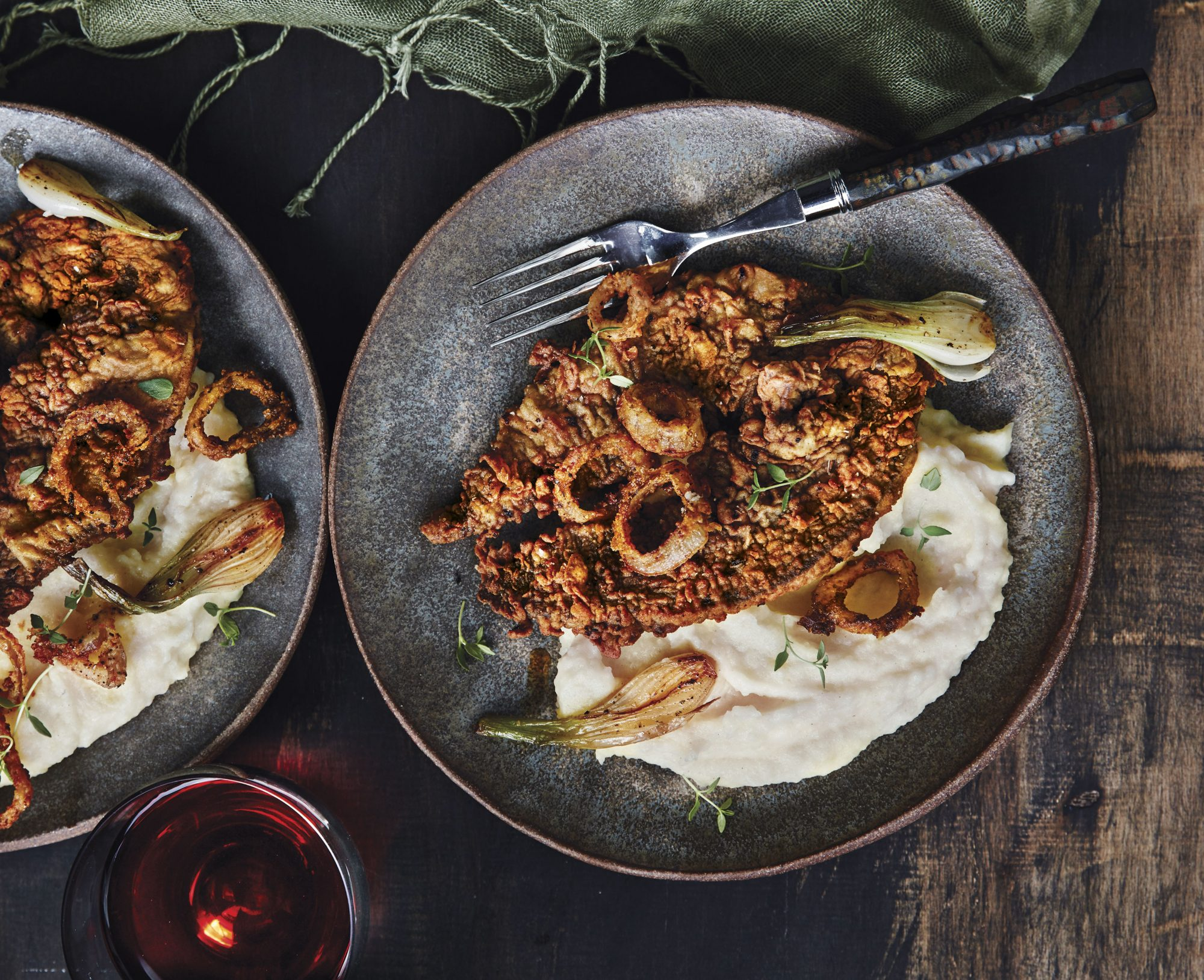Liver and Spring Onions with Crispy Shallots and Potato Puree