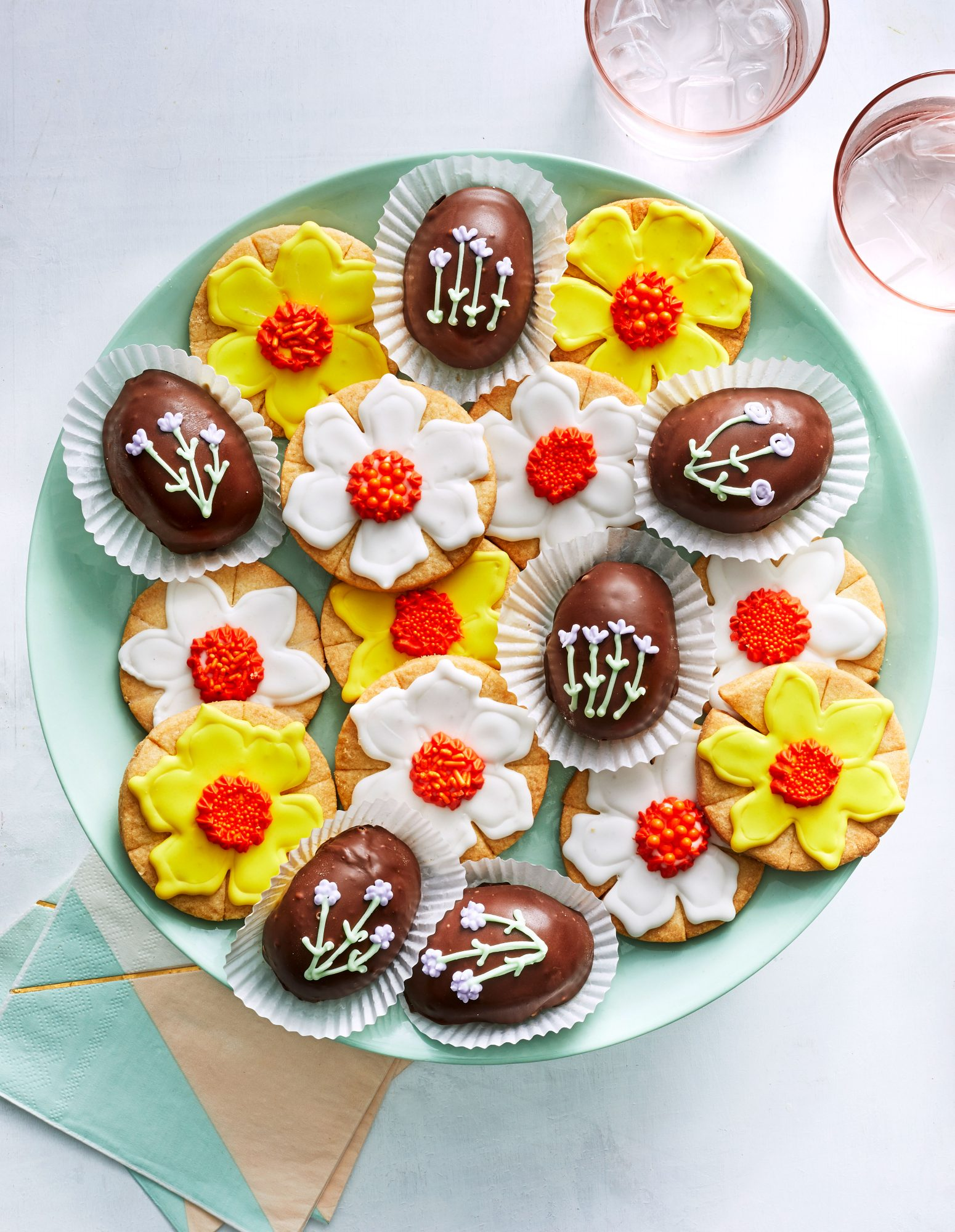 Chocolate-Peanut Butter Eggs and Daffodil Cookies