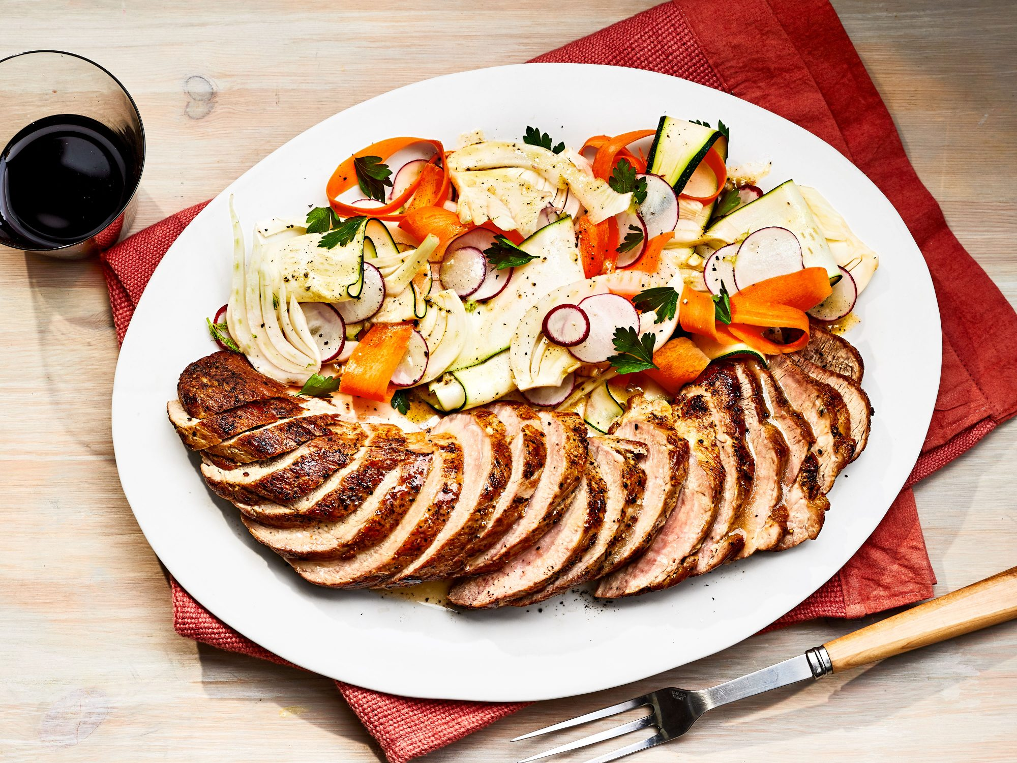 Baked Pork Tenderloin with Shaved Vegetable Salad