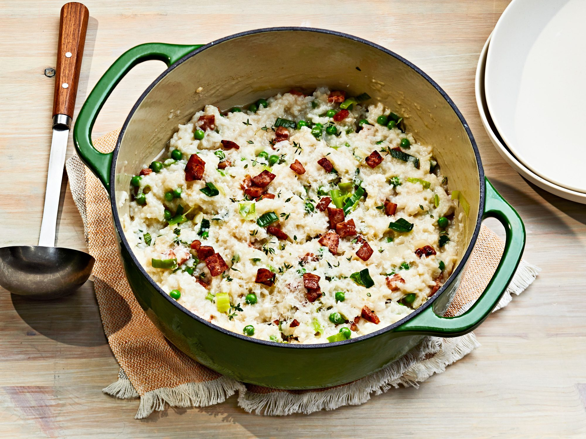 Oven-Baked Risotto with Ham, Leeks, and Peas