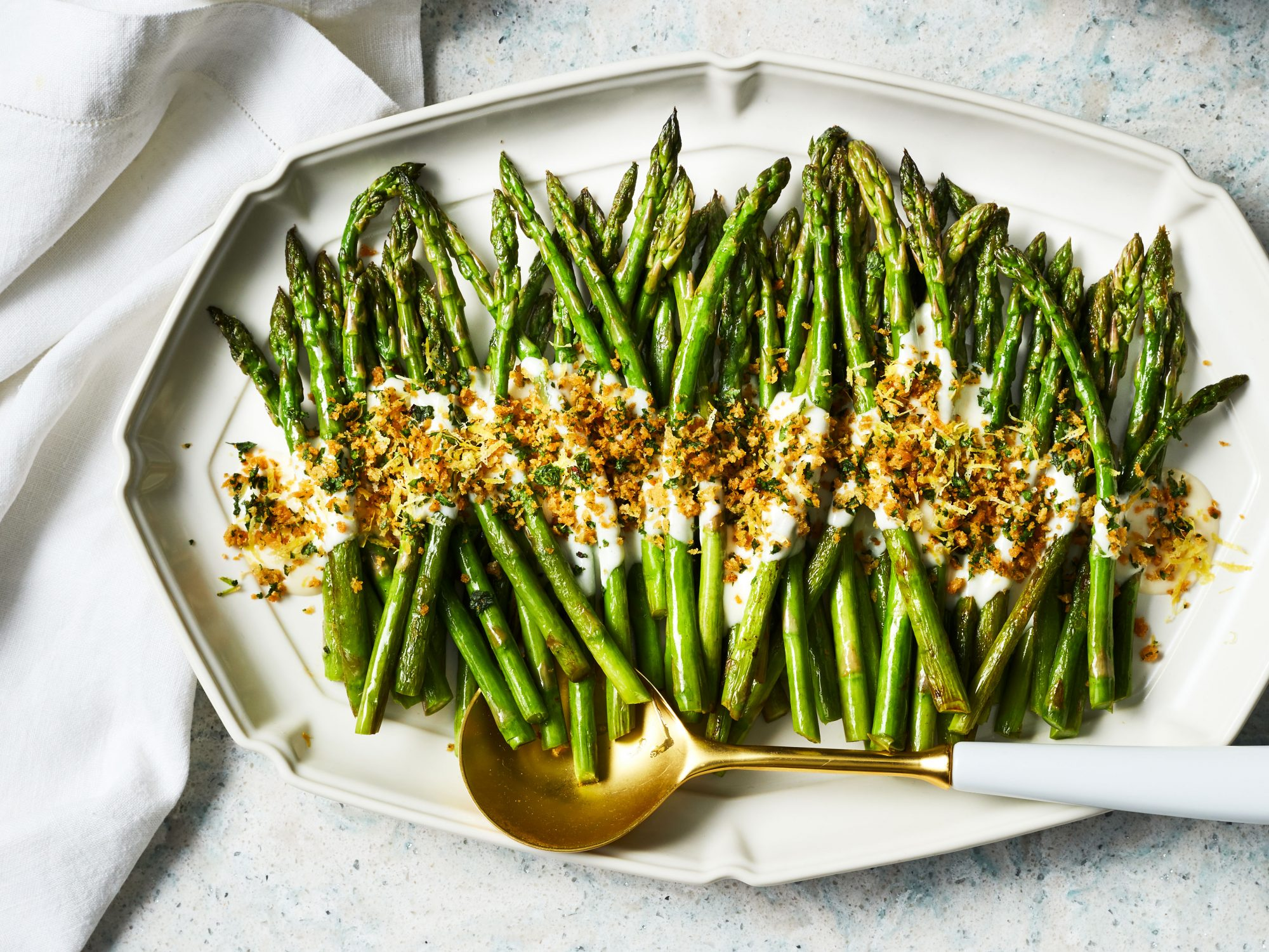 Asparagus with Cheese Sauce and Herb Breadcrumbs