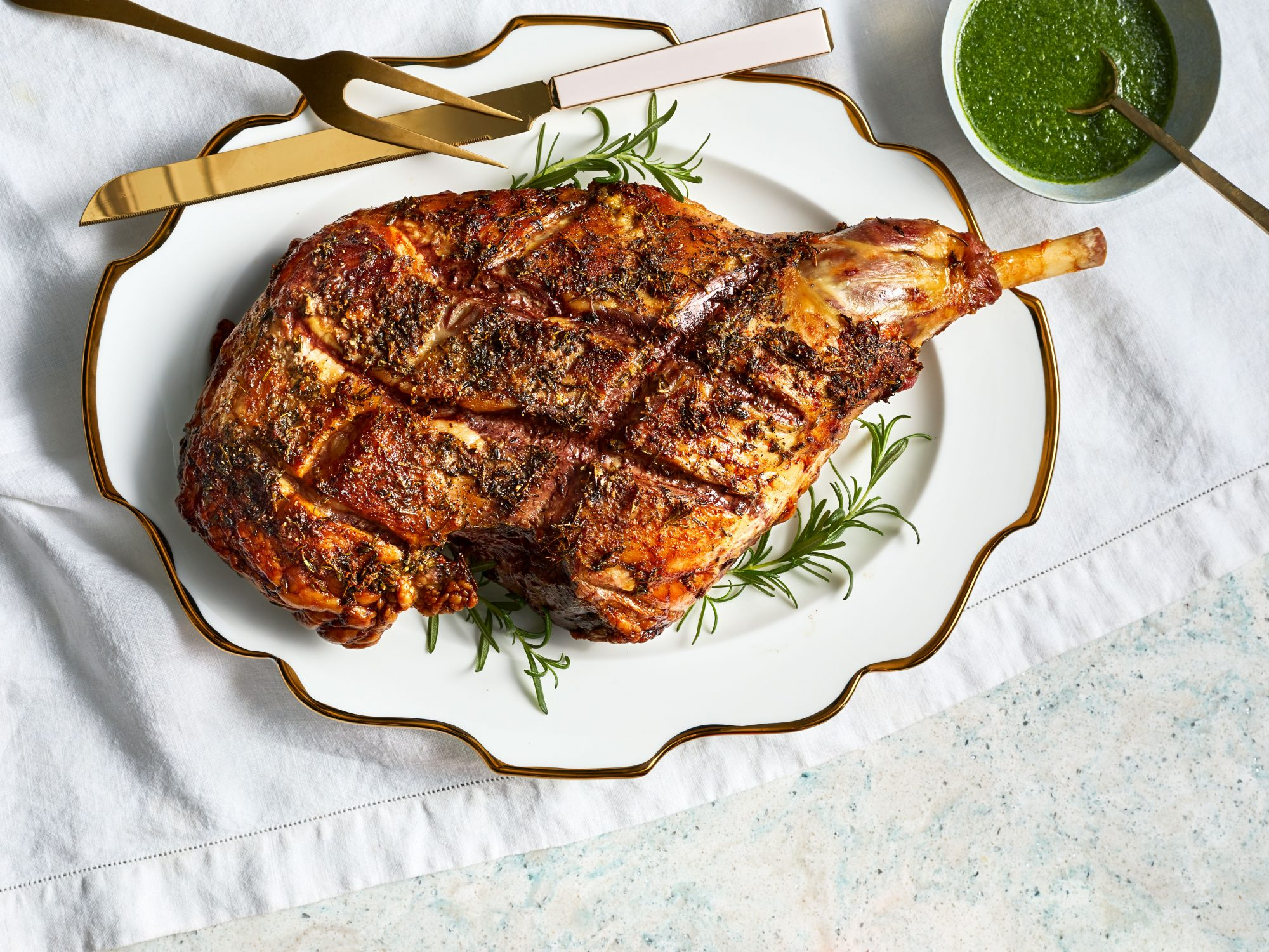 Herb-Crusted Roasted Leg of Lamb