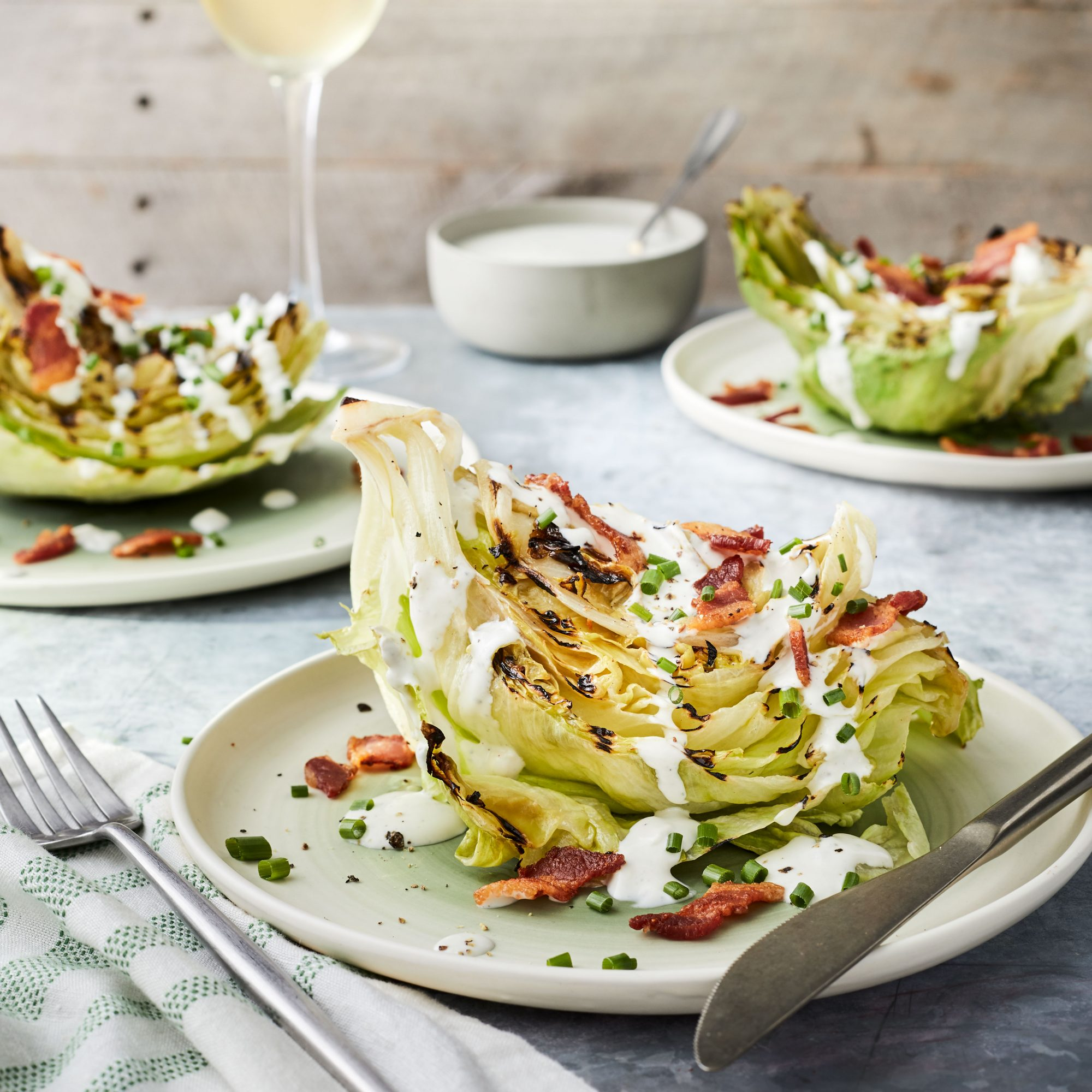 Grilled Wedge Salad with Buttermilk-Blue Cheese Dressing