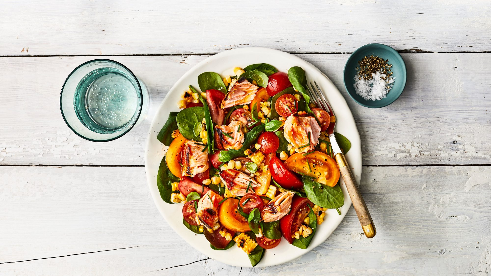 Grilled Corn-and-Salmon Salad with Tomatoes