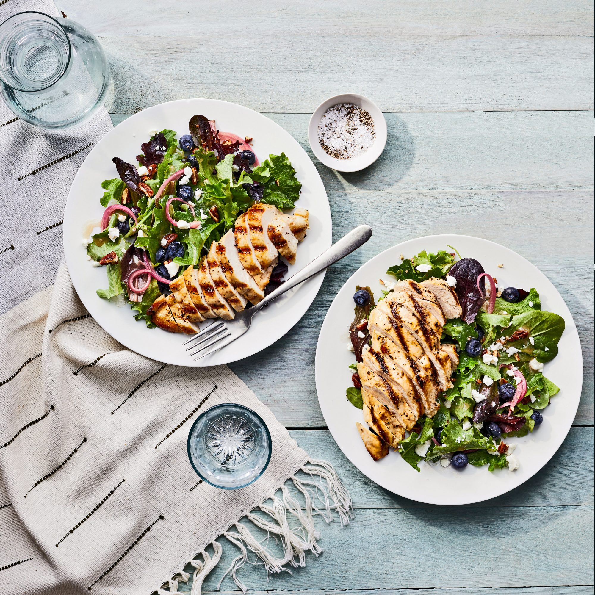 Grilled Chicken Salad with Blueberries, Goat Cheese, and Pickled Onion