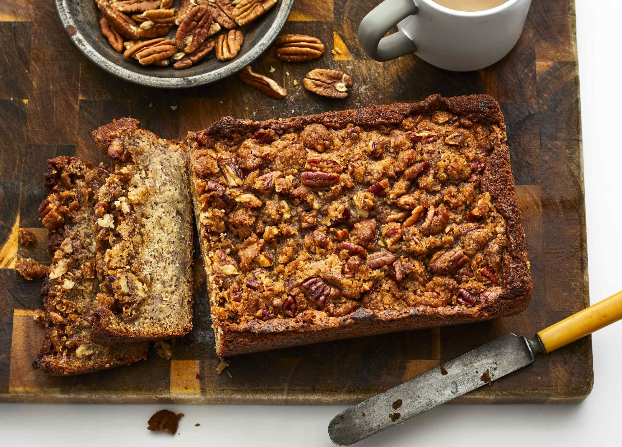 Sour Cream Banana Bread With Pecan Streusel Topping