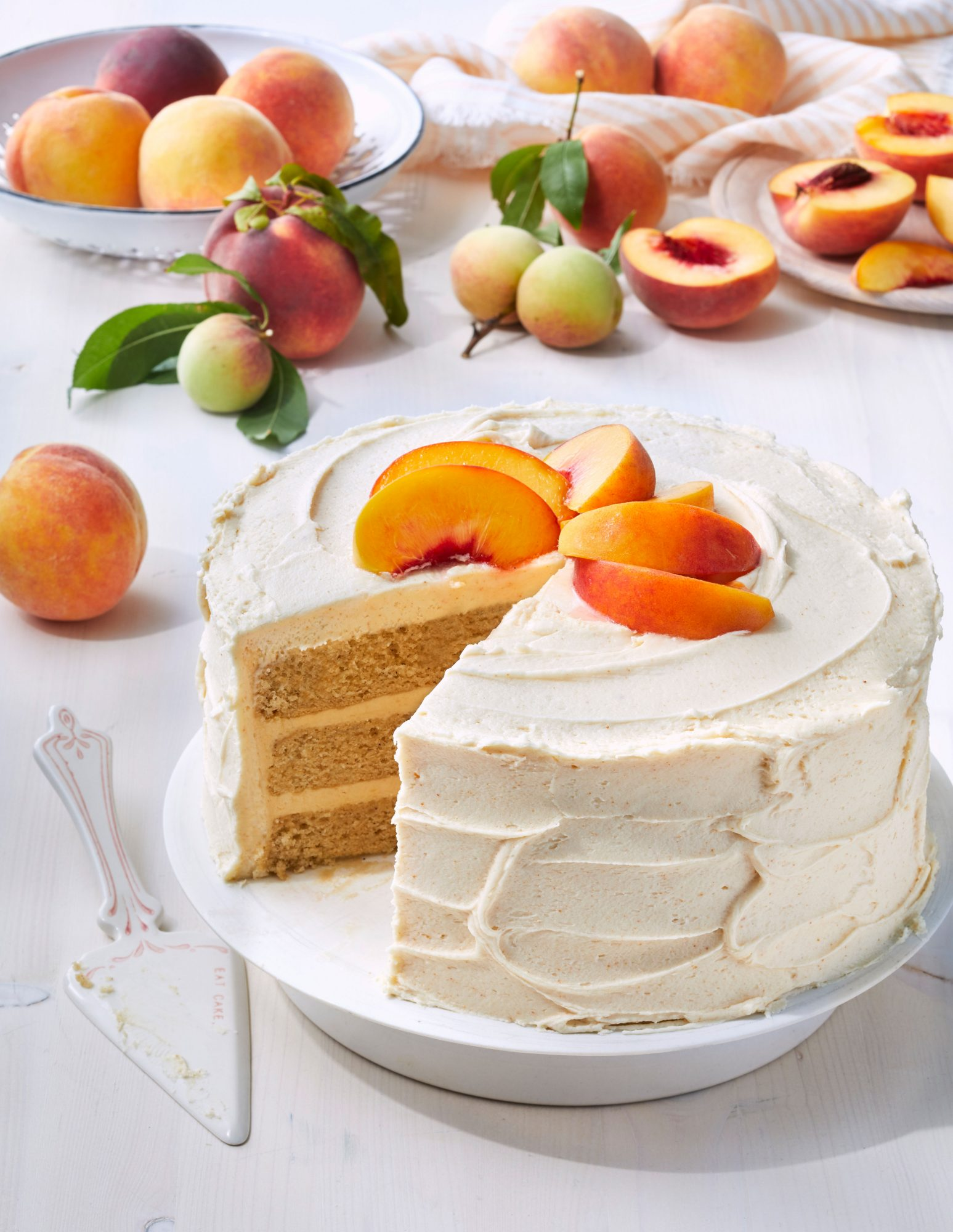 Brown Sugar Layer Cake with Peach Buttercream