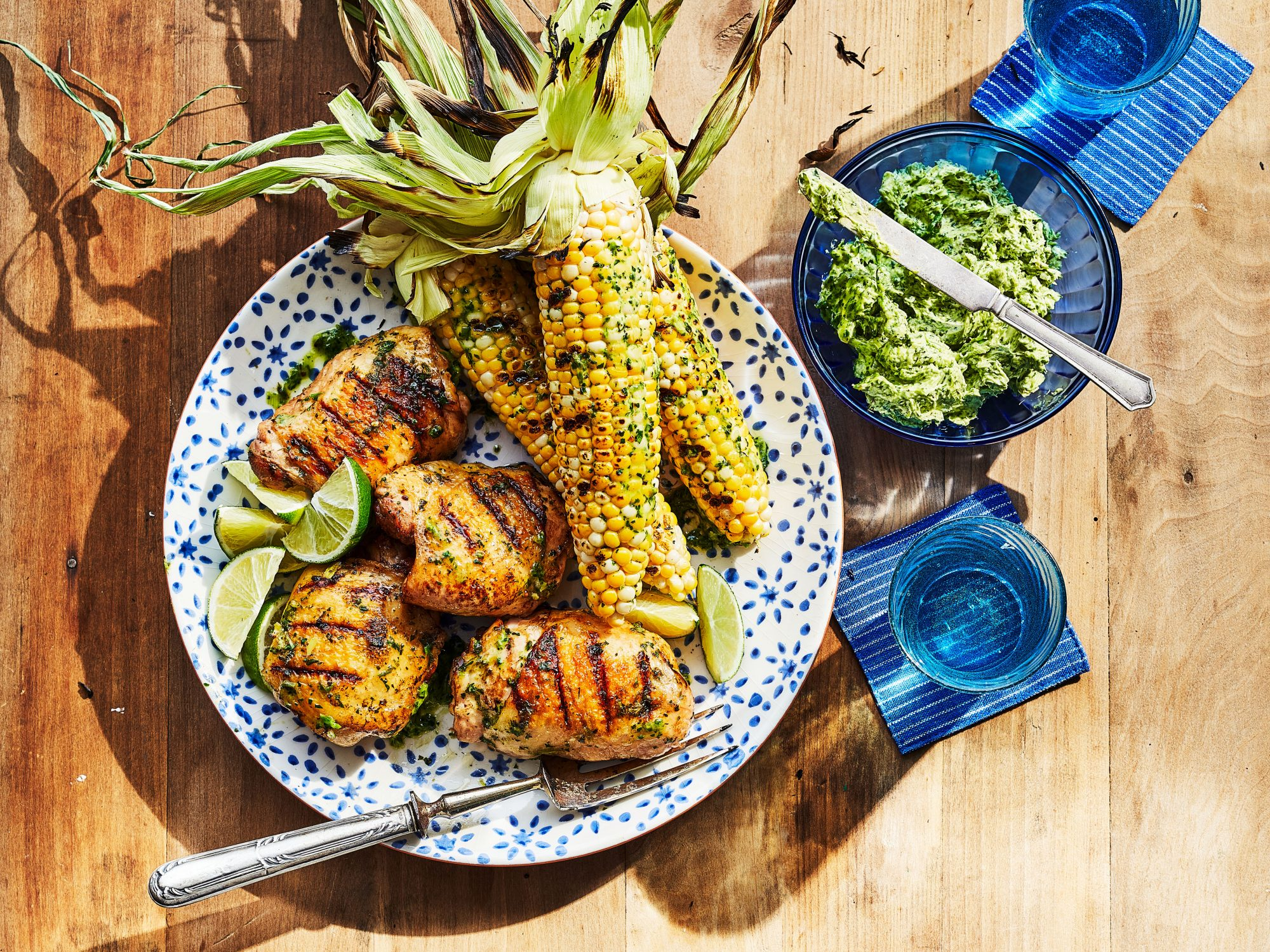 Grilled Chicken and Corn with Charred Scallion-Lime Butter