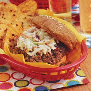 Slow-cooker Sloppy Joes; Photo: Jennifer Davick; Styling: Lisa Powell Bailey