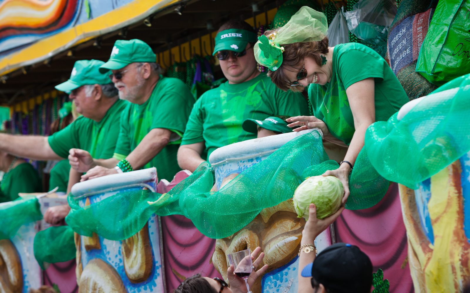 st Patricks day cabbage parade in New Orleans