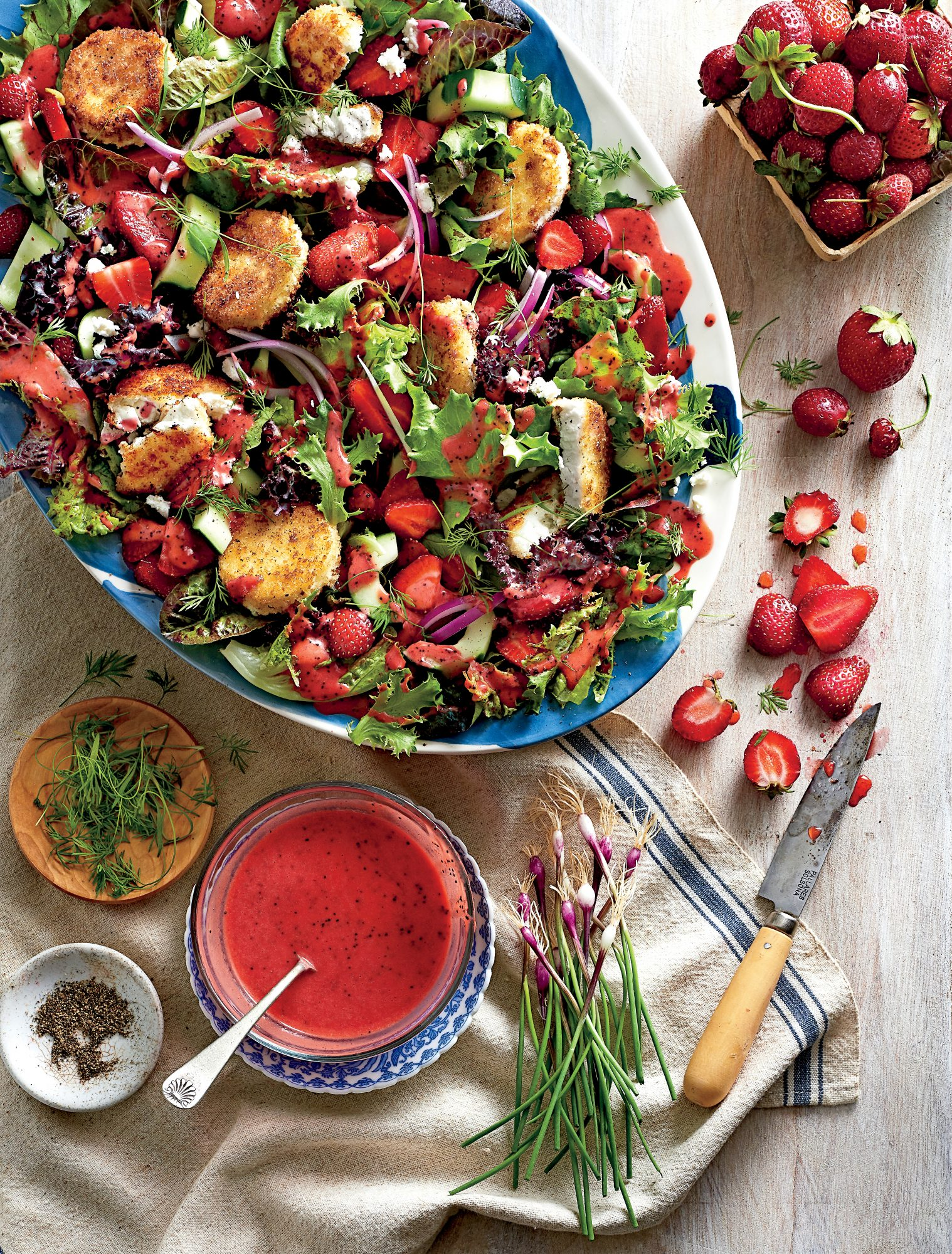 Strawberry Salad with Warm Goat Cheese Croutons