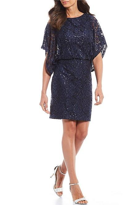 Sequin Lace Dolman Sleeve Blouson Sheath Dress