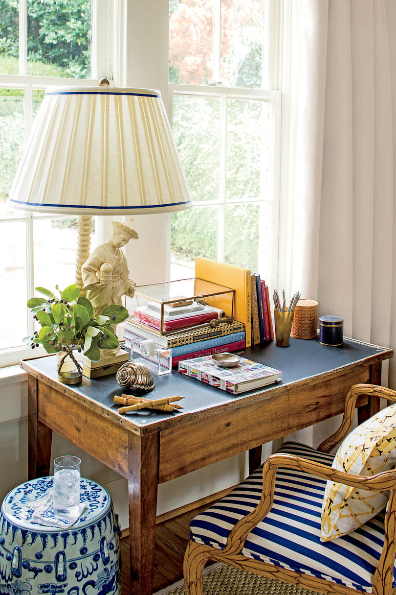 Wooden Desk with Blue Striped Chair